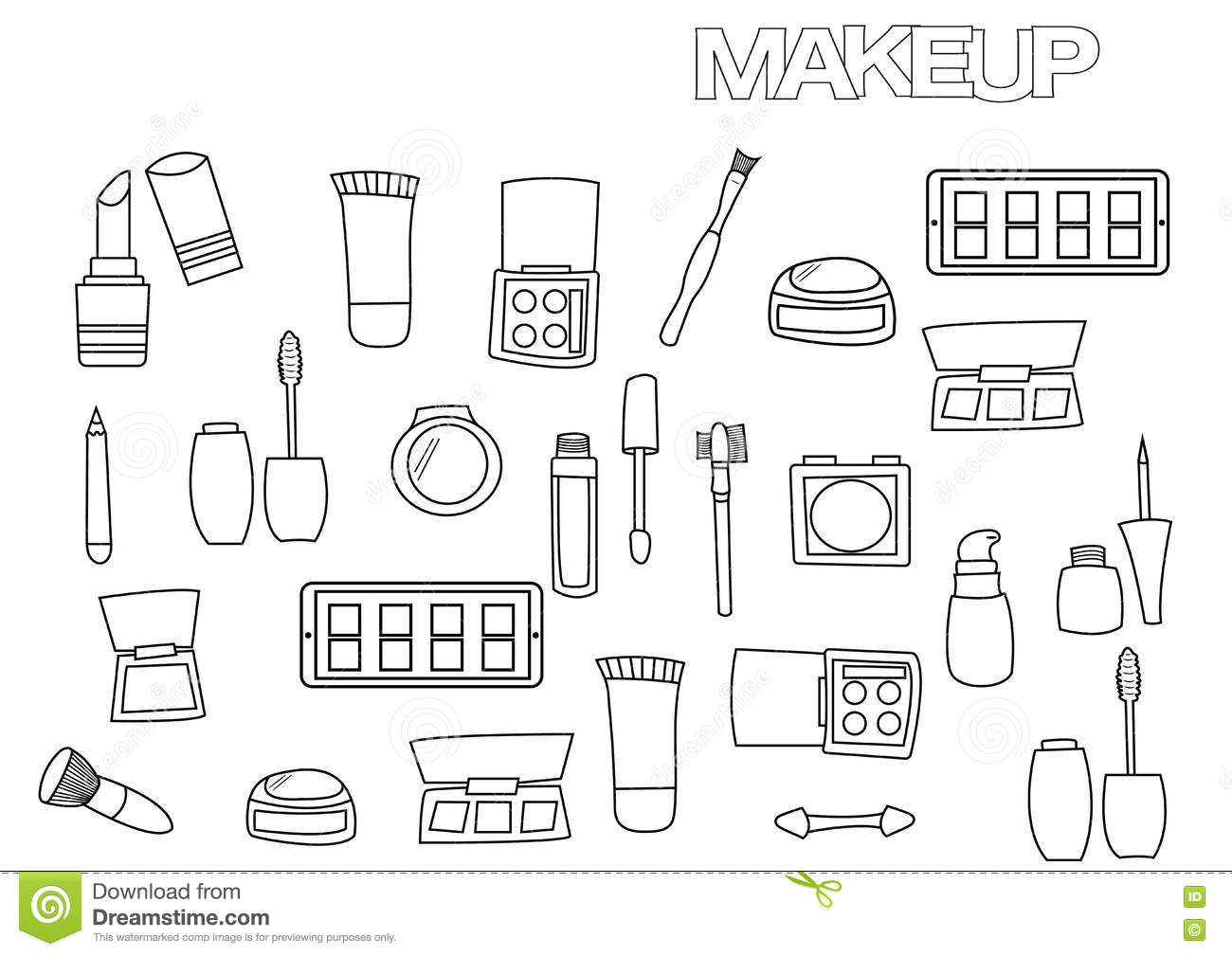 Hand Drawn Makeup Set. Coloring Book Page Template. Stock