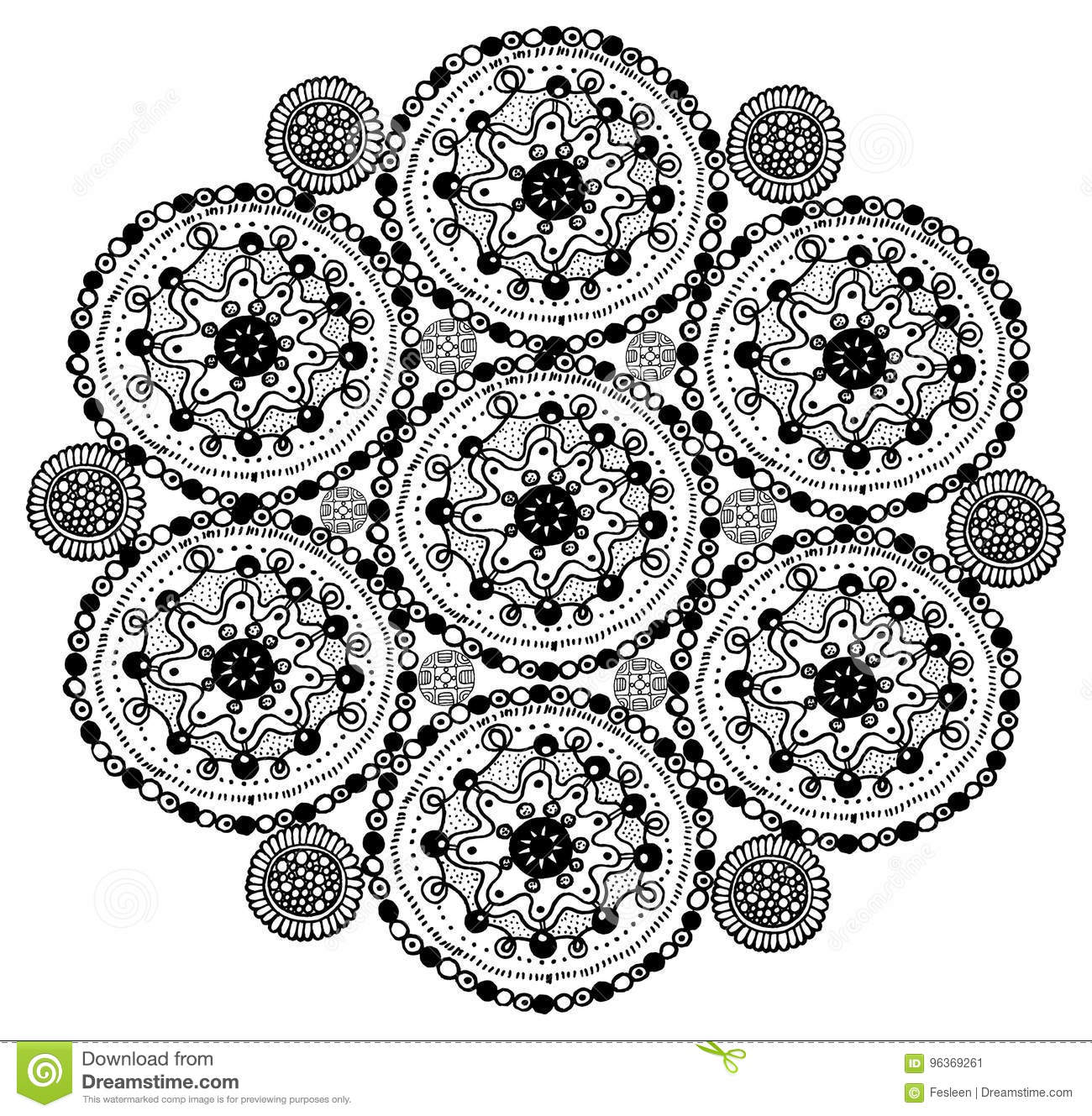 Hand Drawn Mandala Coloring Page  Zentangle Doodle Art For
