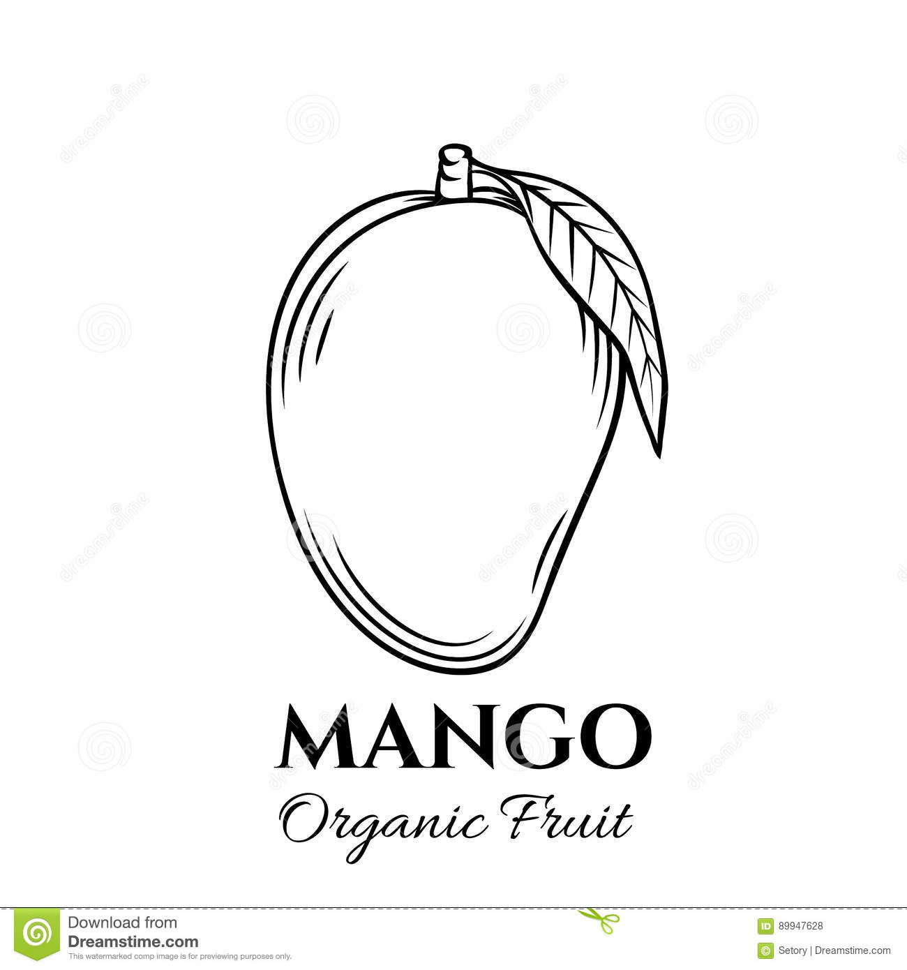 Line Art Mango : Hand drawn mango icon stock vector image