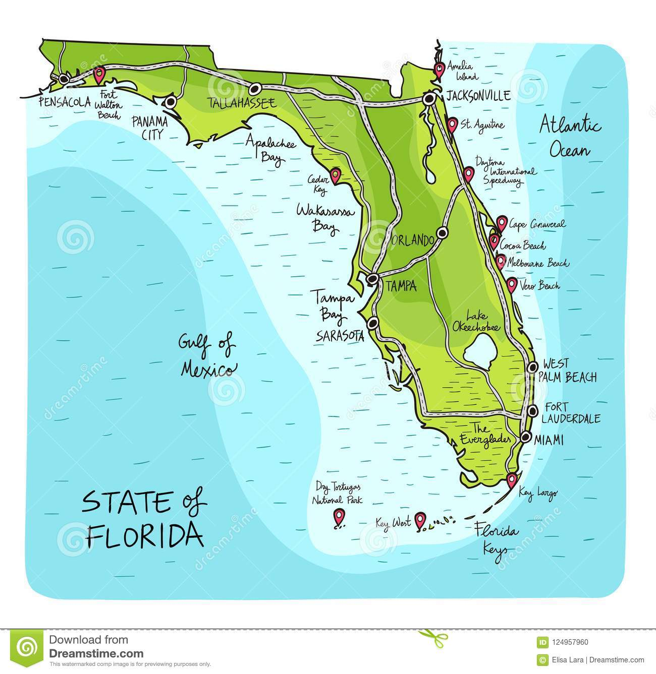 The Map Of Florida With The Cities.Hand Drawn Map Of Florida With Main Cities And Point Of Interest