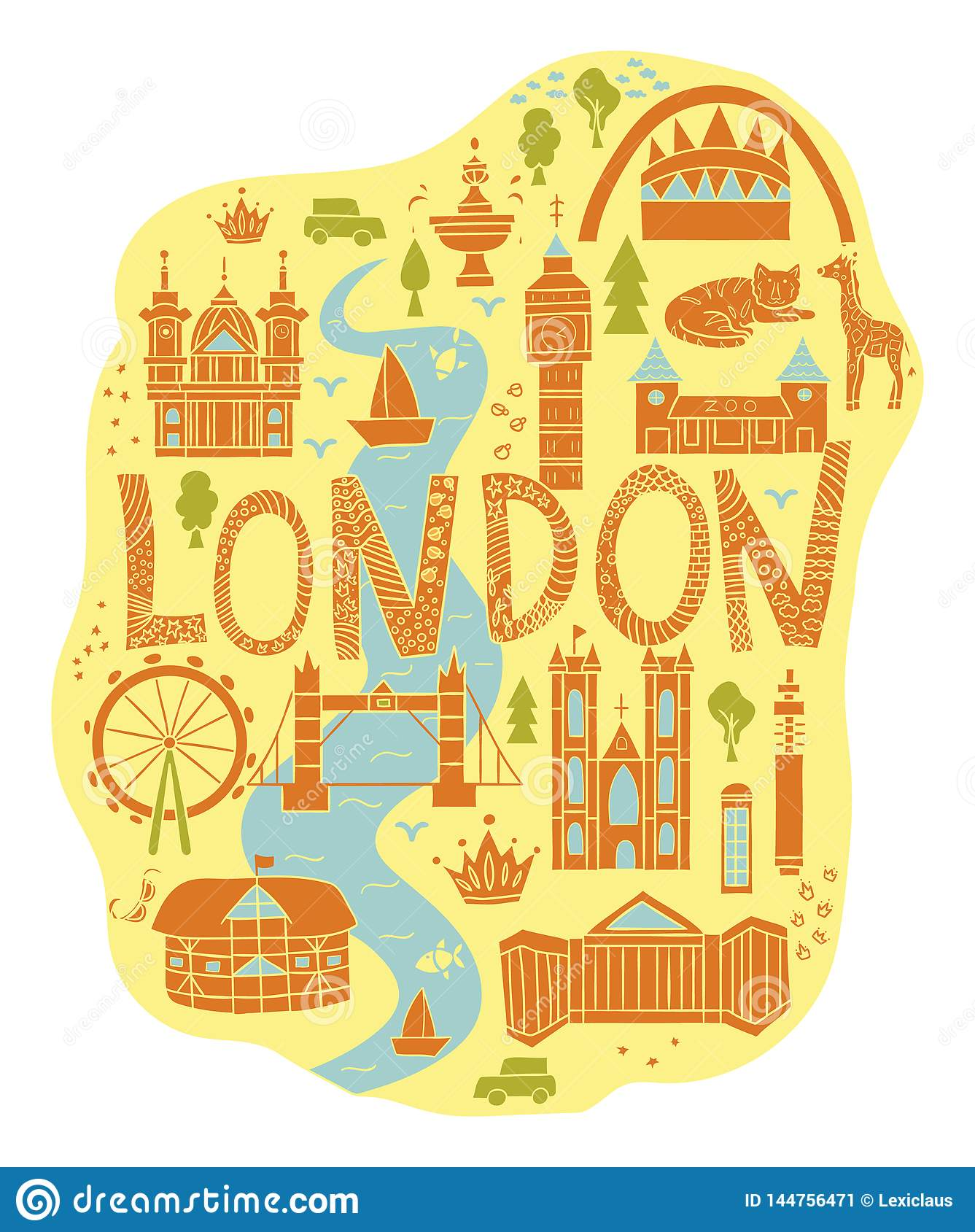 Map Of London With Attractions.Hand Drawn Map Of London In Cartoon Style Stock Illustration