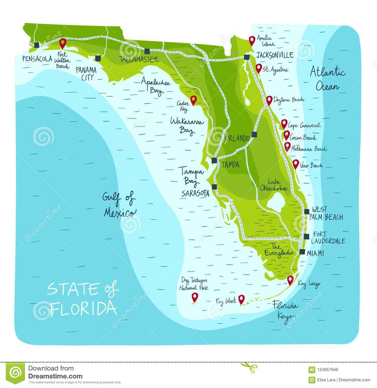 Map State Of Florida.Imprimirhand Drawn Map Of The State Of Florida With Main Cities And
