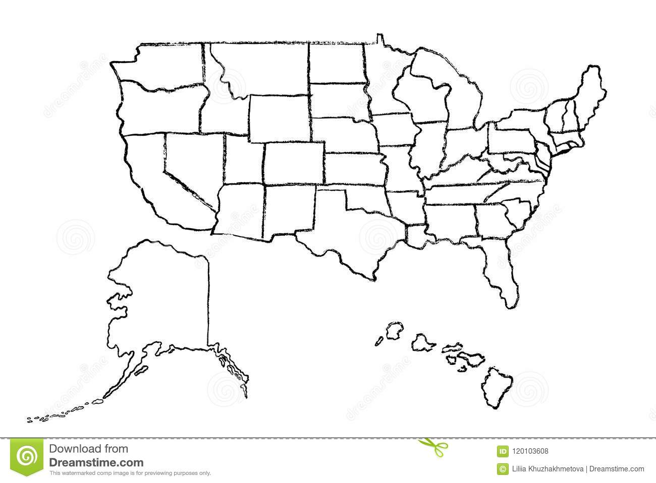Hand Drawn Map Of United States Of America Stock Vector ...