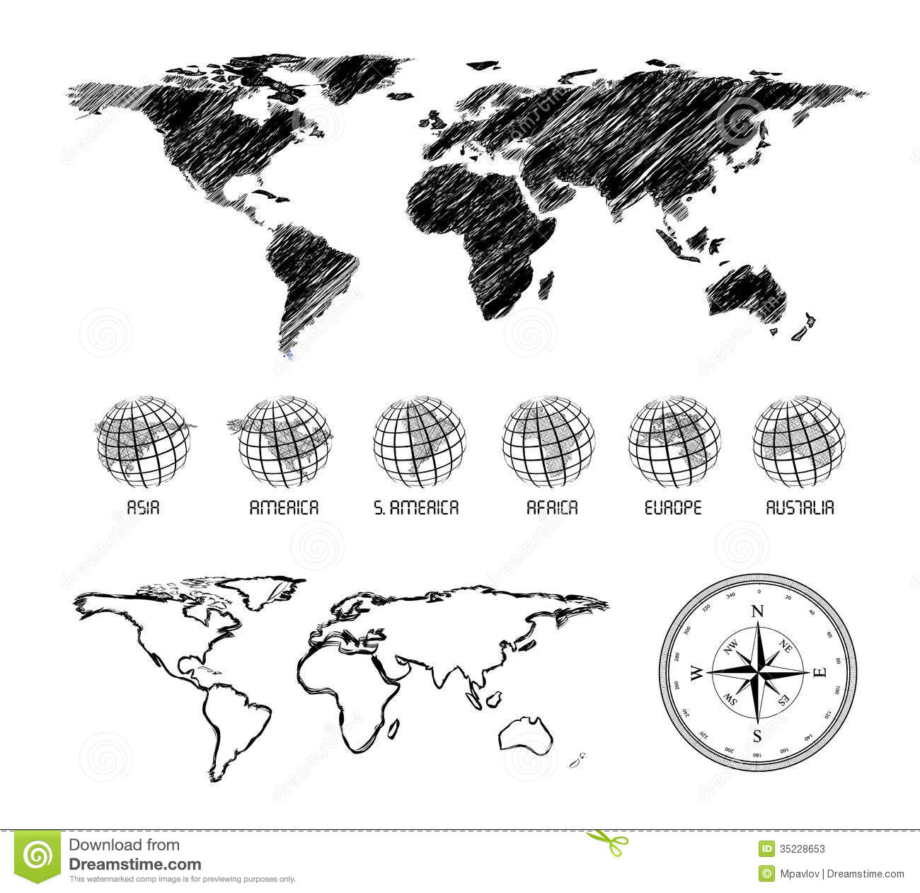 Hand Drawn Map Of The World.Hand Drawn Map Of The World Stock Vector Illustration Of