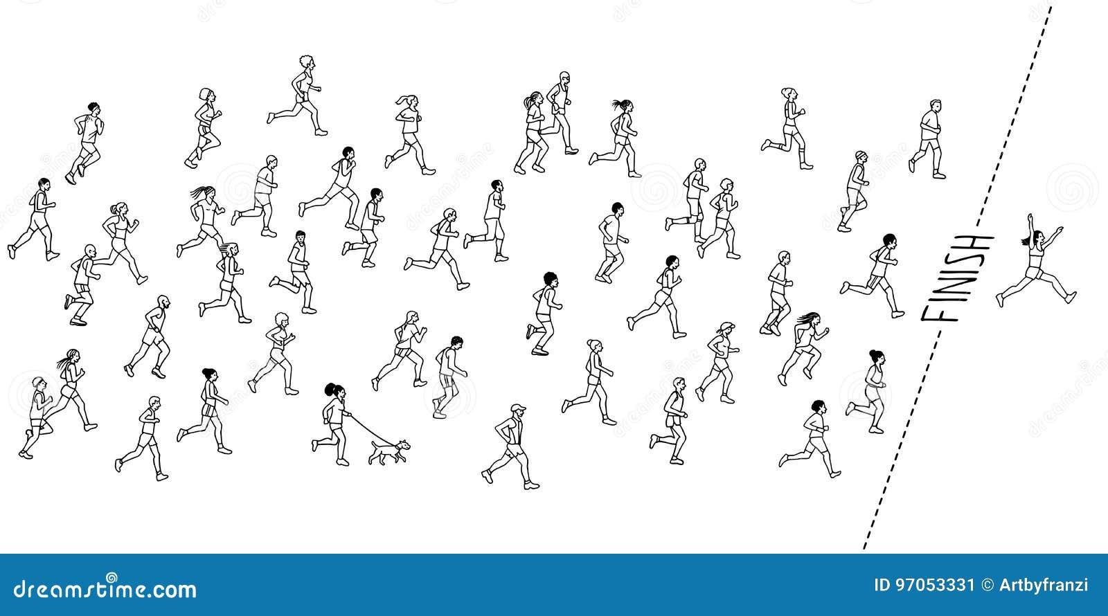 Hand drawn marathon runners
