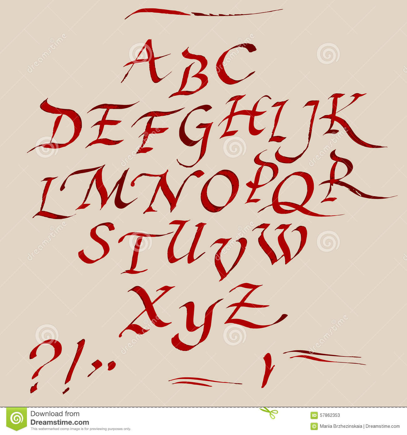 Hand Drawn Ink Pen Artistic Font Expressed Cursive Set With Red And Brown Colours Includes Capital Letters Exclamation Question Marks