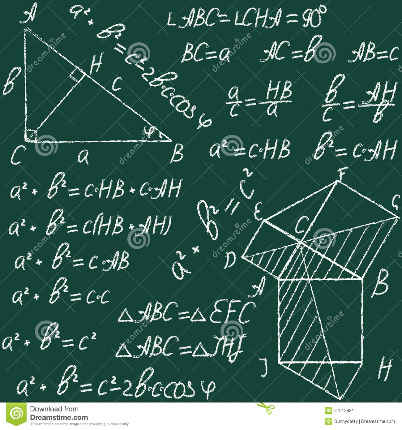 Hand Drawn Math Education Vector Seamless Pattern With Geometrical ...