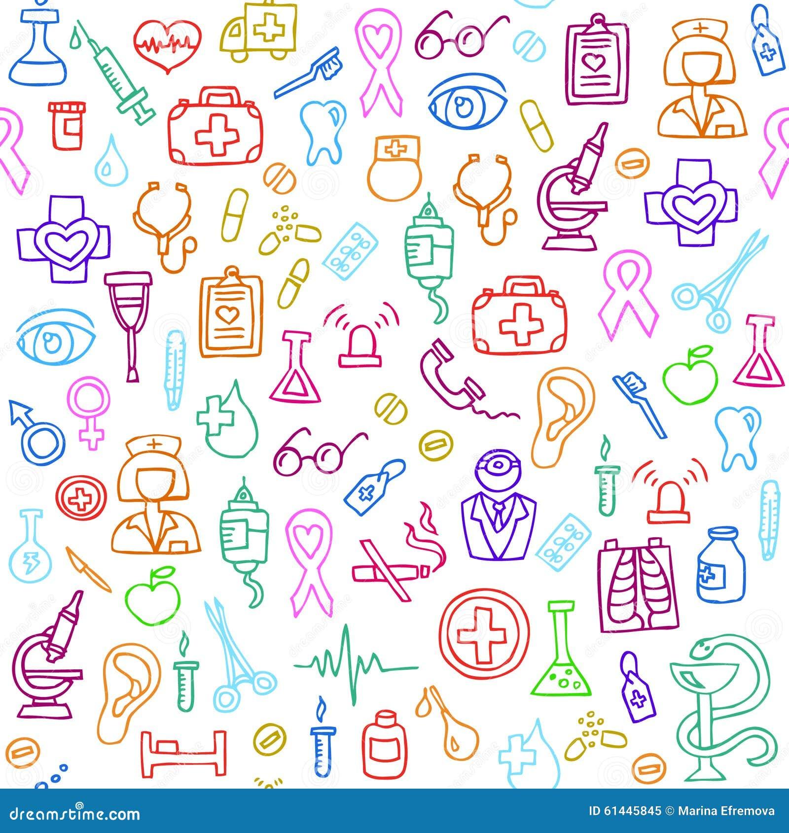 Hand Drawn Medical Seamless Pattern. Vector Illustration