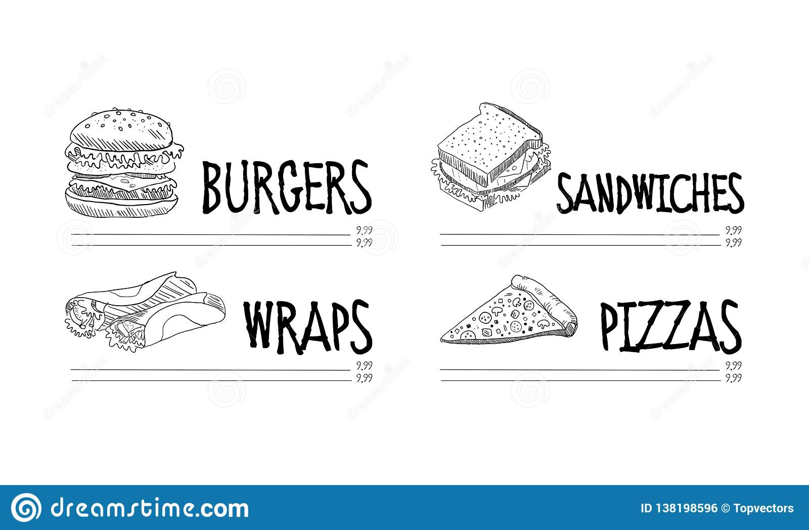 Hand Drawn Menu Of Fast Food Cafe  Sketch Vector