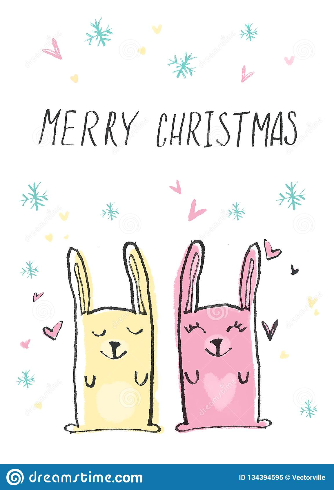 Hand drawn//painted card Funny Holiday Card