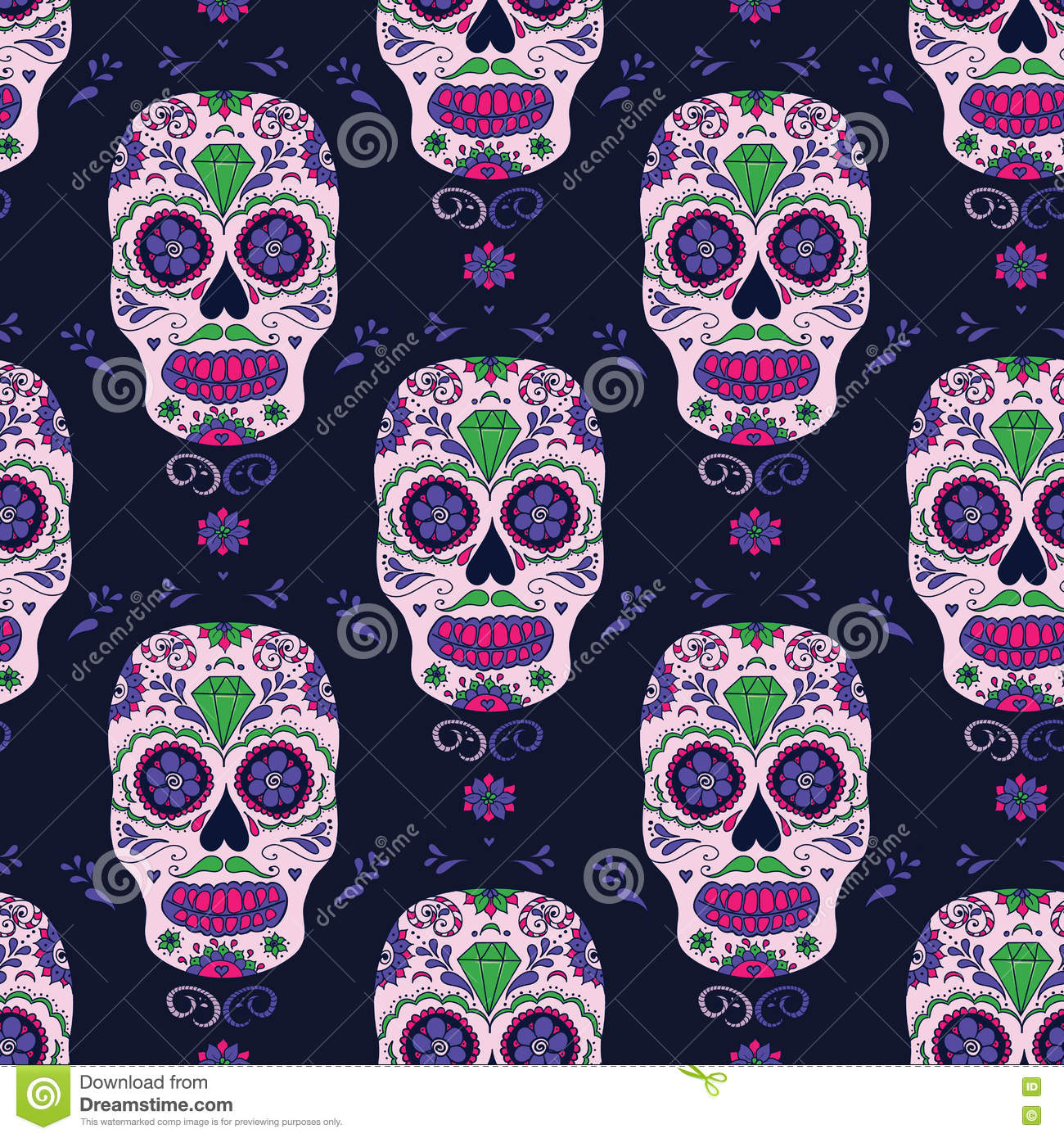 hand drawn mexican day of the dead seamless pattern vector colorful