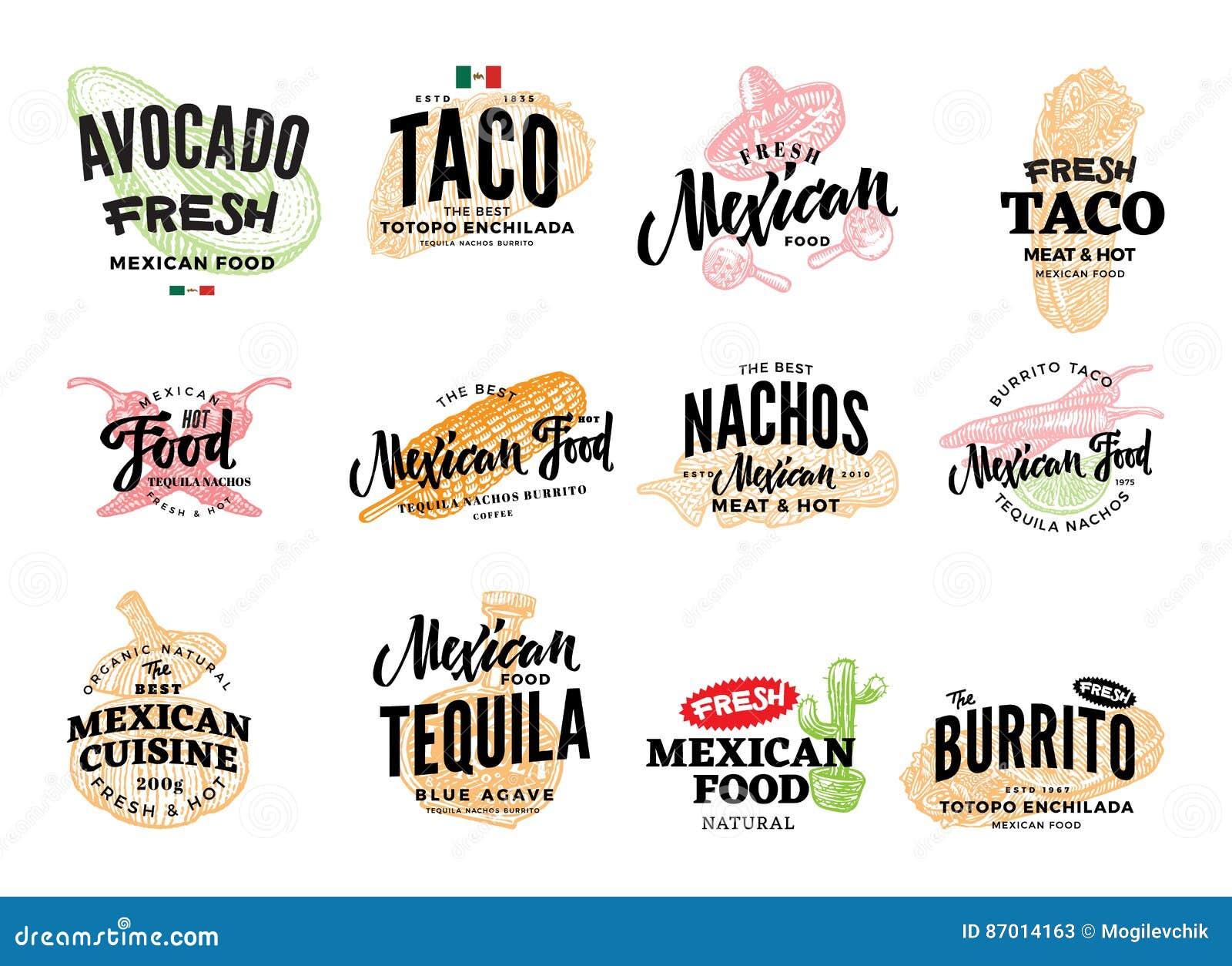 Hand Drawn Mexican Food Logos Stock Vector Illustration Of Drawn