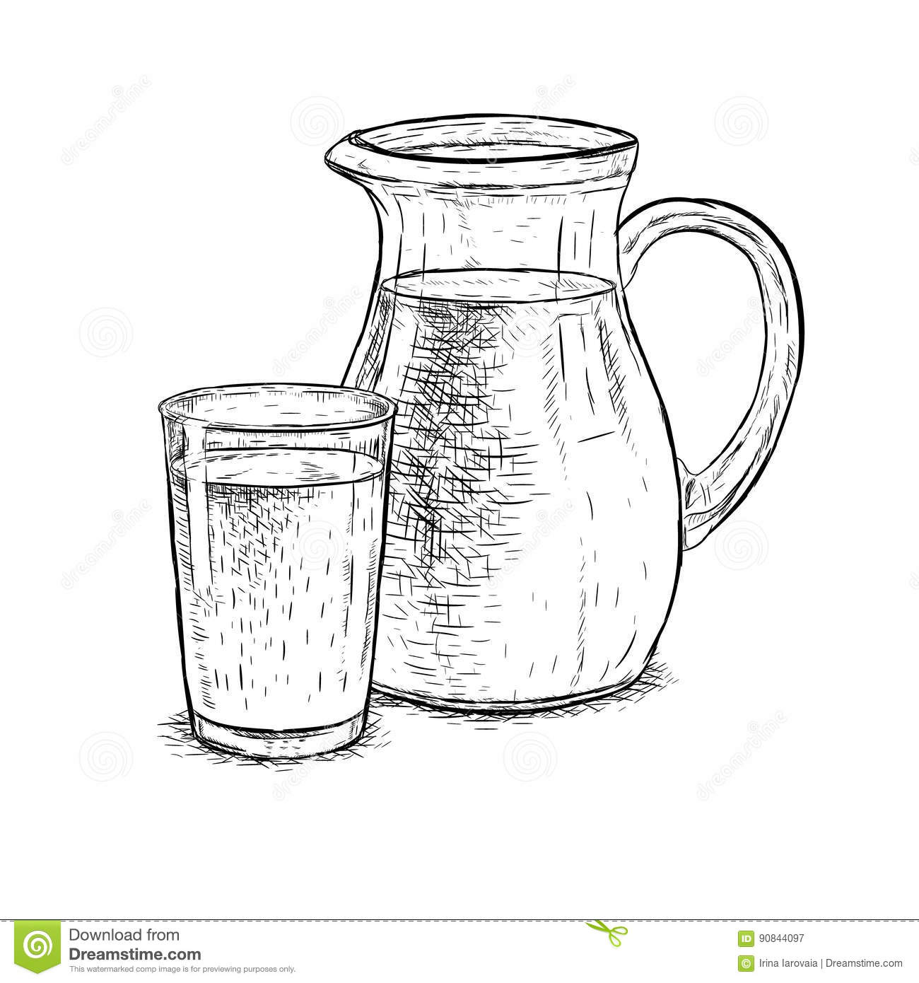 Line Drawing Jug : Hand drawn milk jug and glass of vector sketch stock