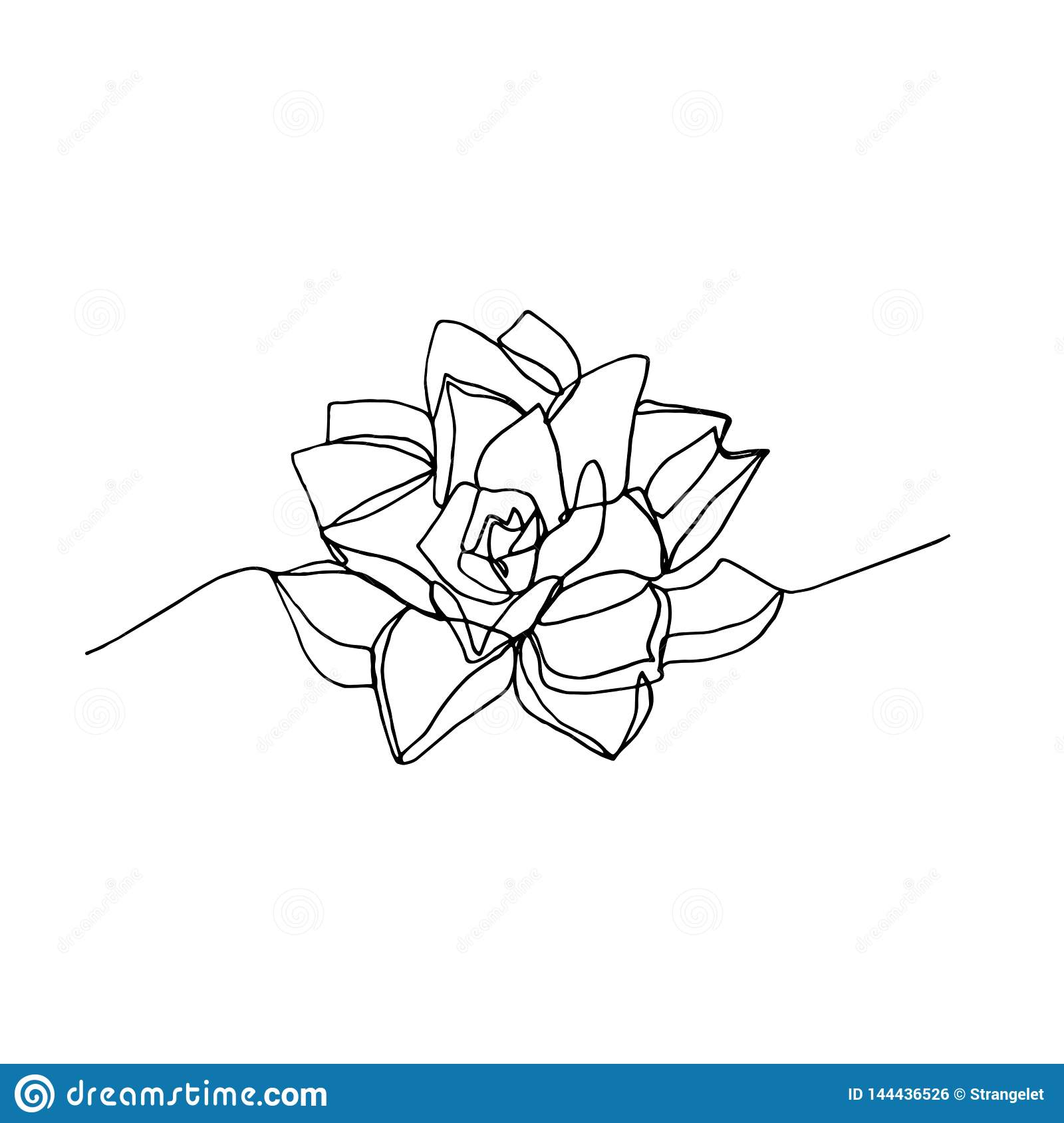 Hand Drawn Minimalistic Succulent One Single Continuous Black Line Simple Drawing Stock Illustration Illustration Of Continuous Contour 144436526