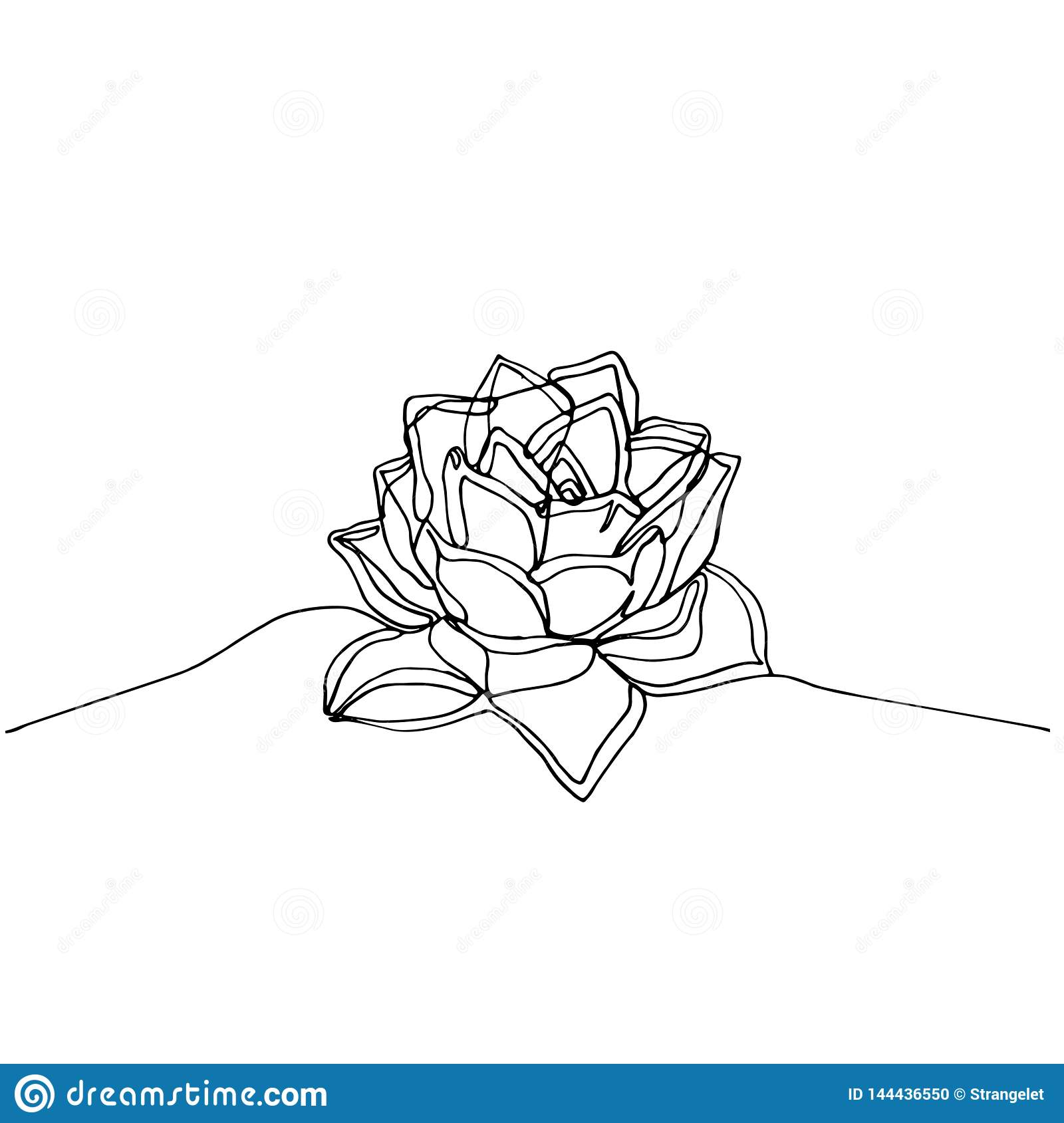 Hand Drawn Minimalistic Succulent One Single Continuous Black Line Simple Drawing Stock Illustration Illustration Of White Doodle 144436550