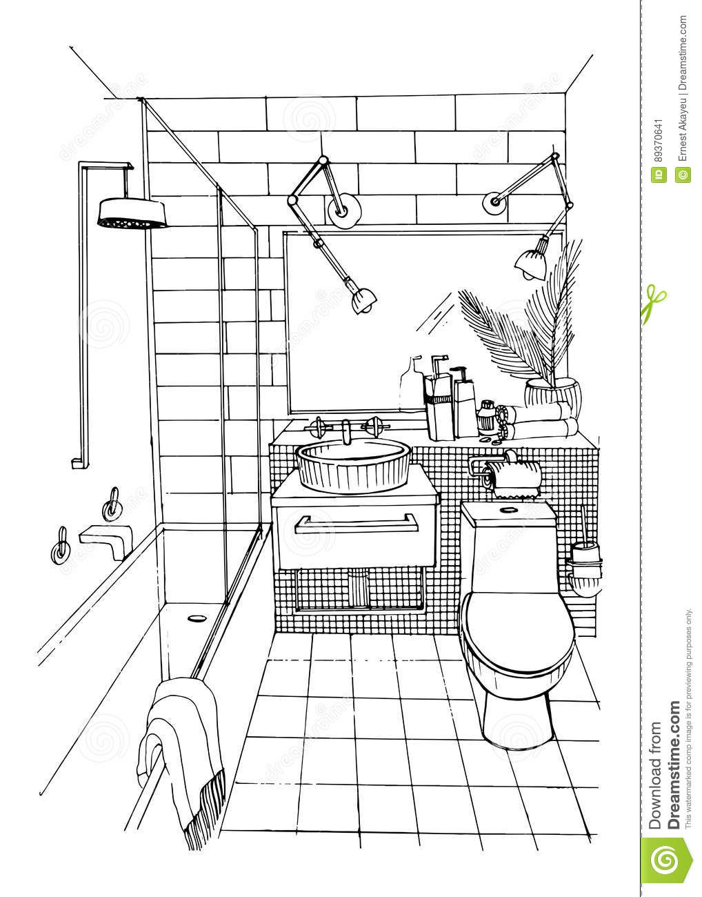 Interior Design Rendering Bathroom Interior Design Drawing