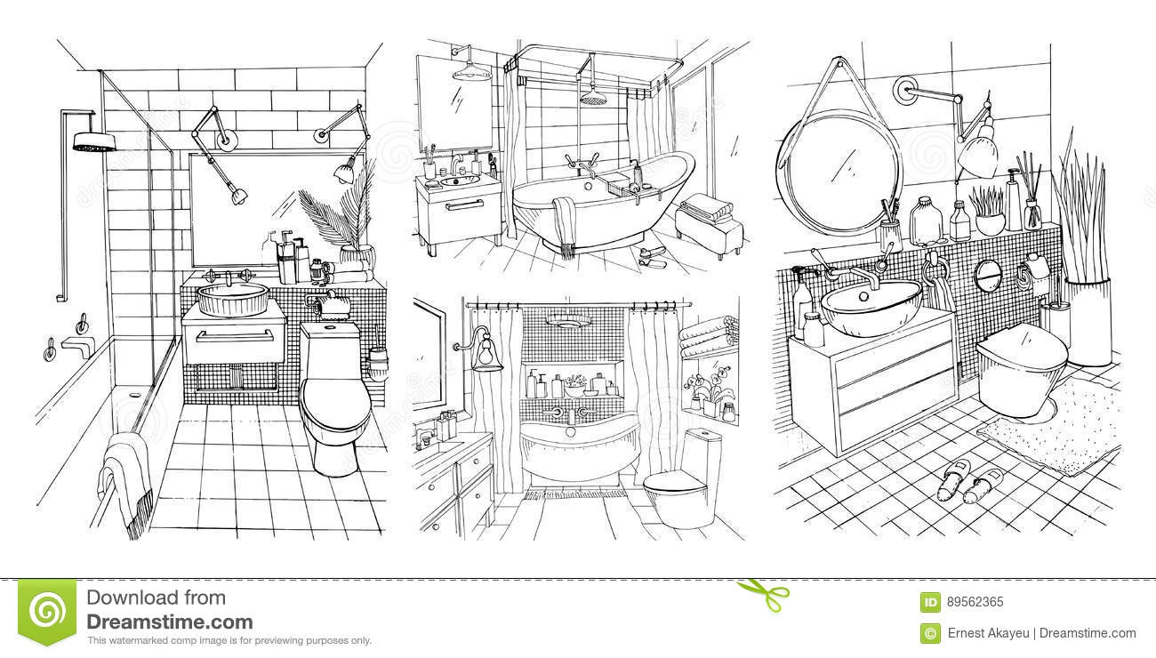 Download Hand Drawn Modern Bathroom And Toilet Interior Design Collection Contour Vector Sketch Illustrations Set