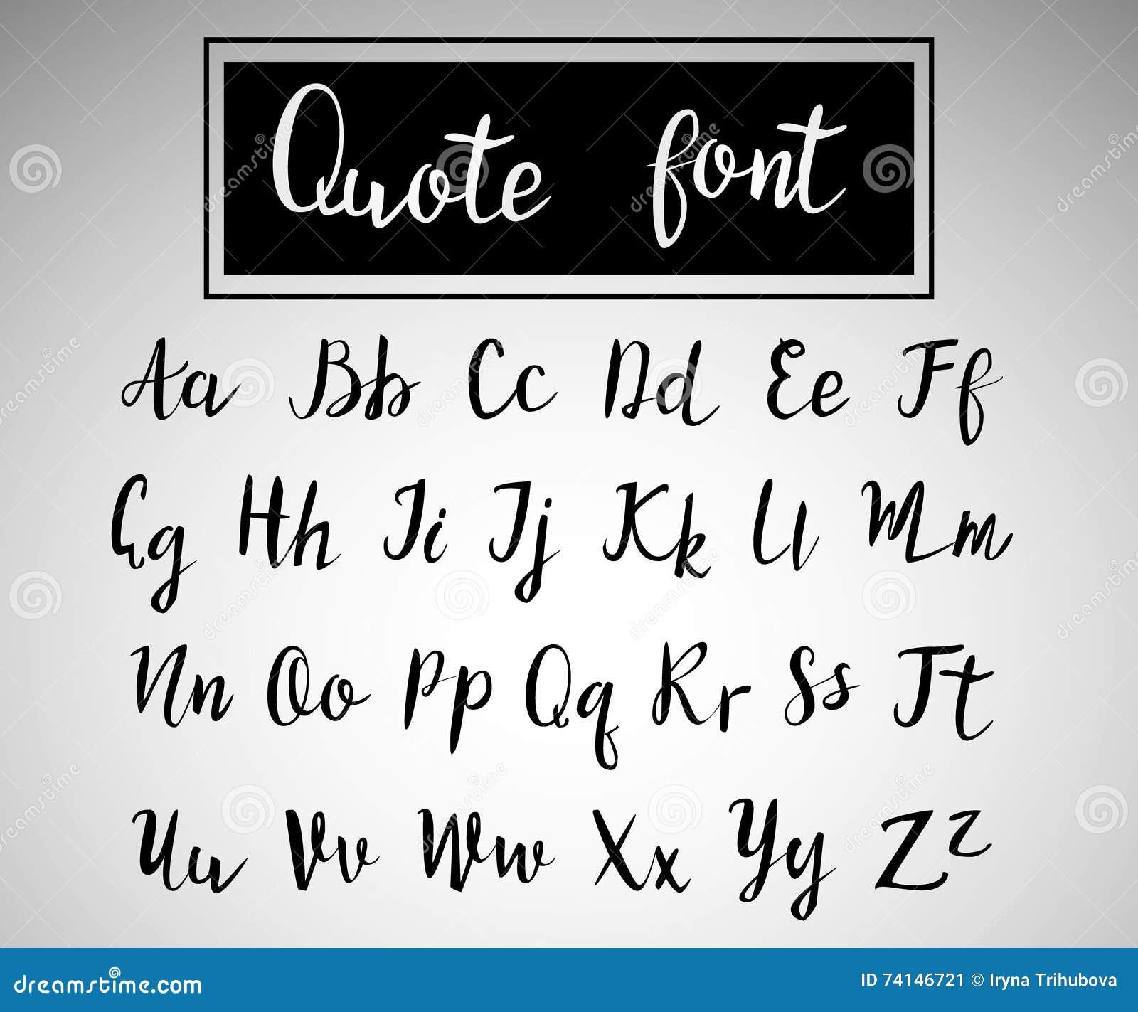 Hand drawn modern script quote font cartoon vector