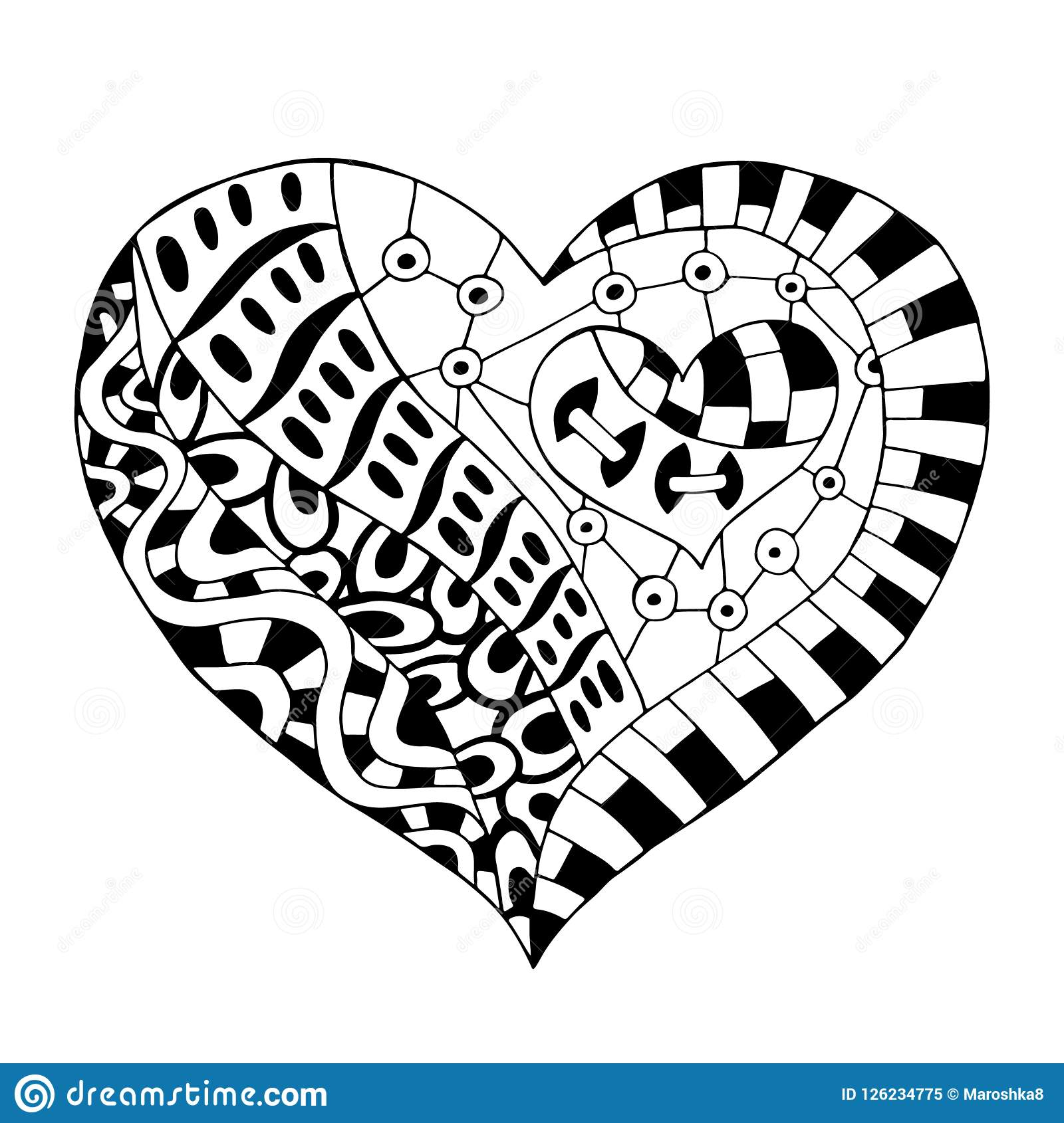 Hand drawn monochrome hearts in zentangle style. pattern for ... | 1690x1600