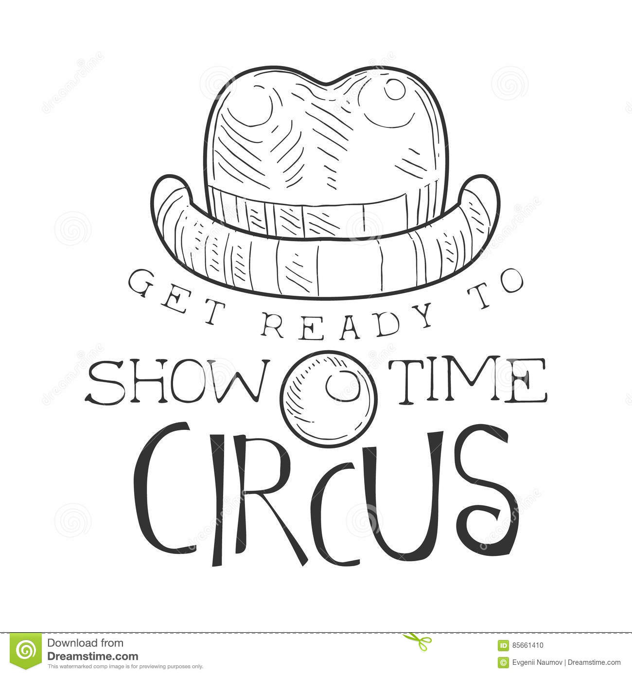 Hand Drawn Monochrome Vintage Circus Show Time Promotion Sign With