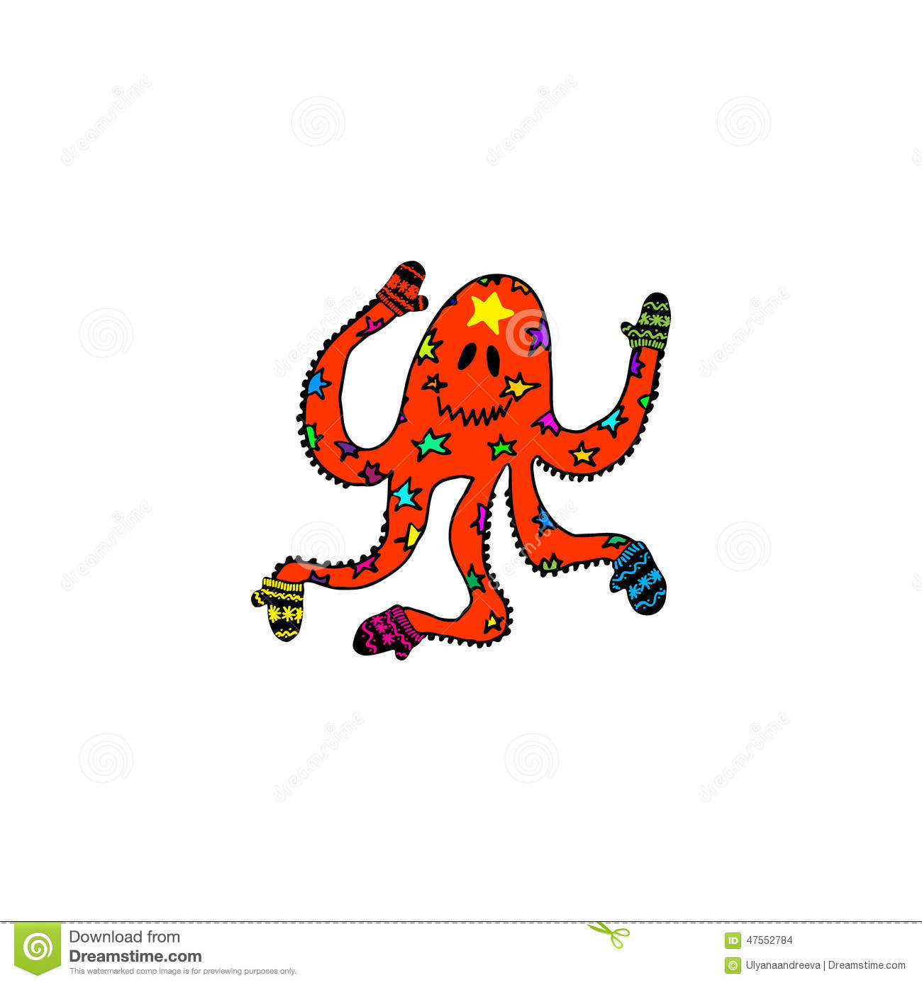 hand drawn monster cartoon octopus in mittens for christmas griiting cards