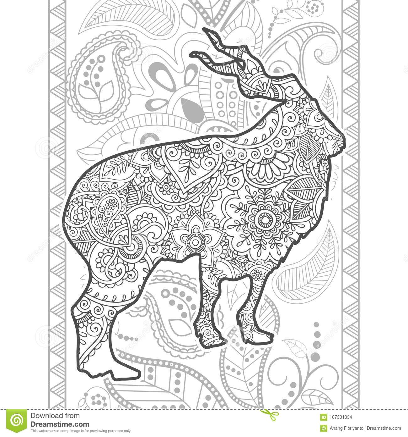 Hand Drawn Mountain Goat Doodle Animal Paisley Adult Stress
