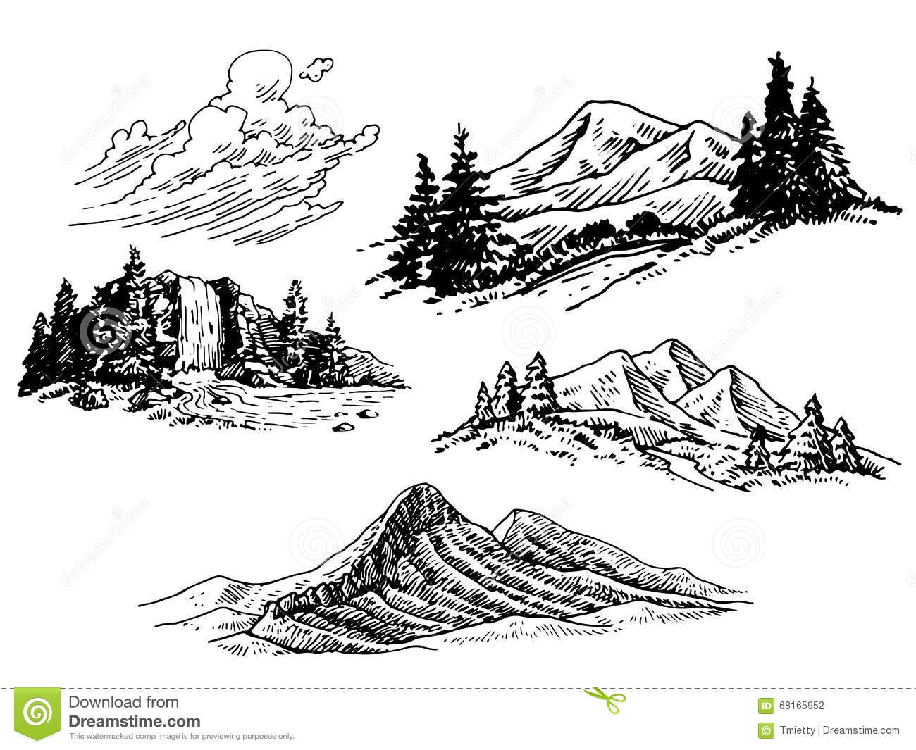 Line Drawing Mountain : Hand drawn mountain illustrations stock vector