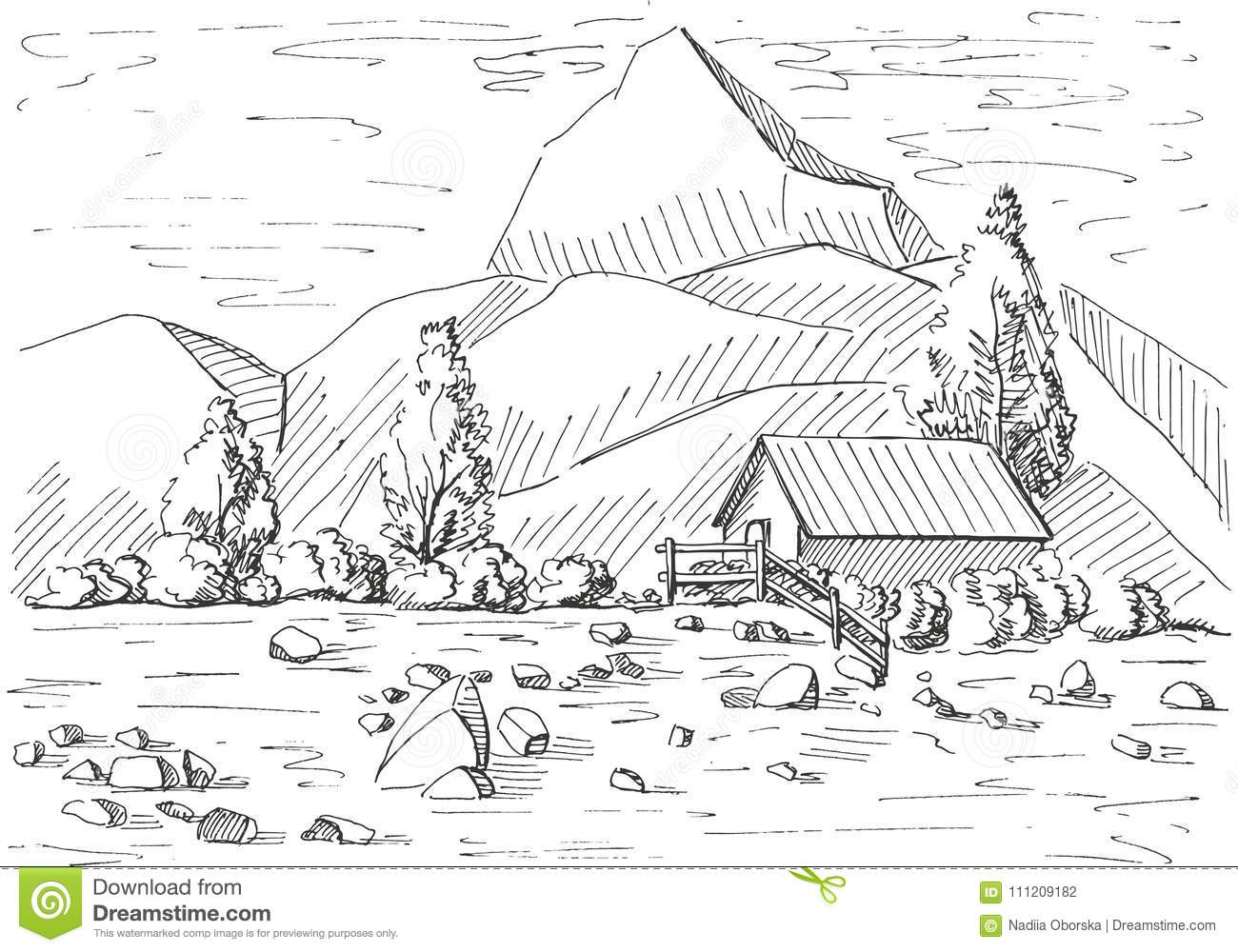 Hand drawn mountain landscape. House on a background of mountains. Vector illustration of a sketch style