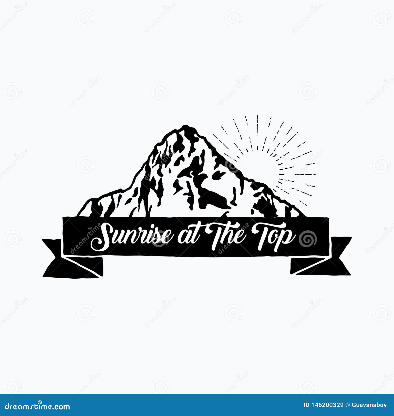 Hand drawn mountain logo template