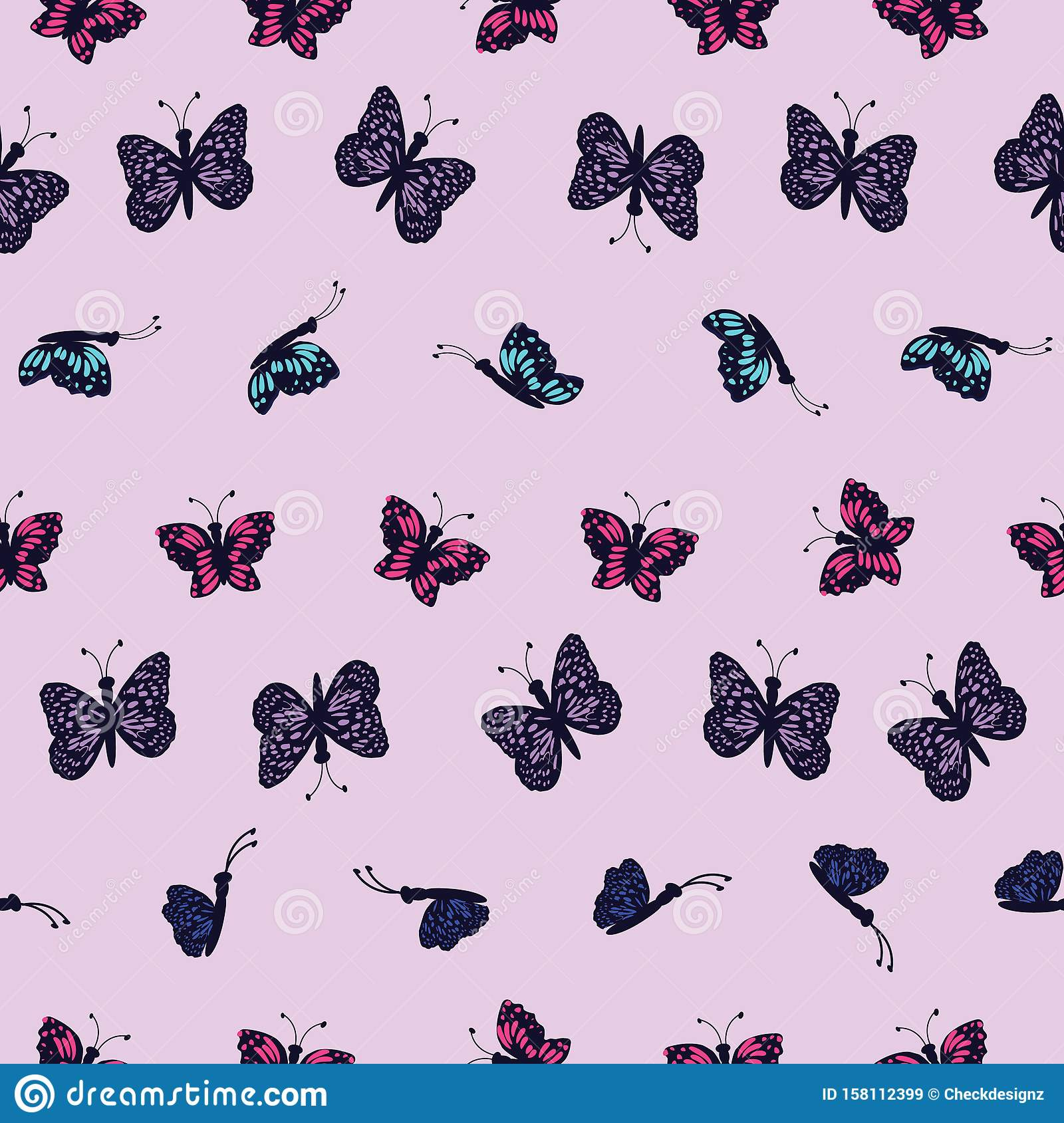 Hand drawn multi colored butterflies on a light purple background.