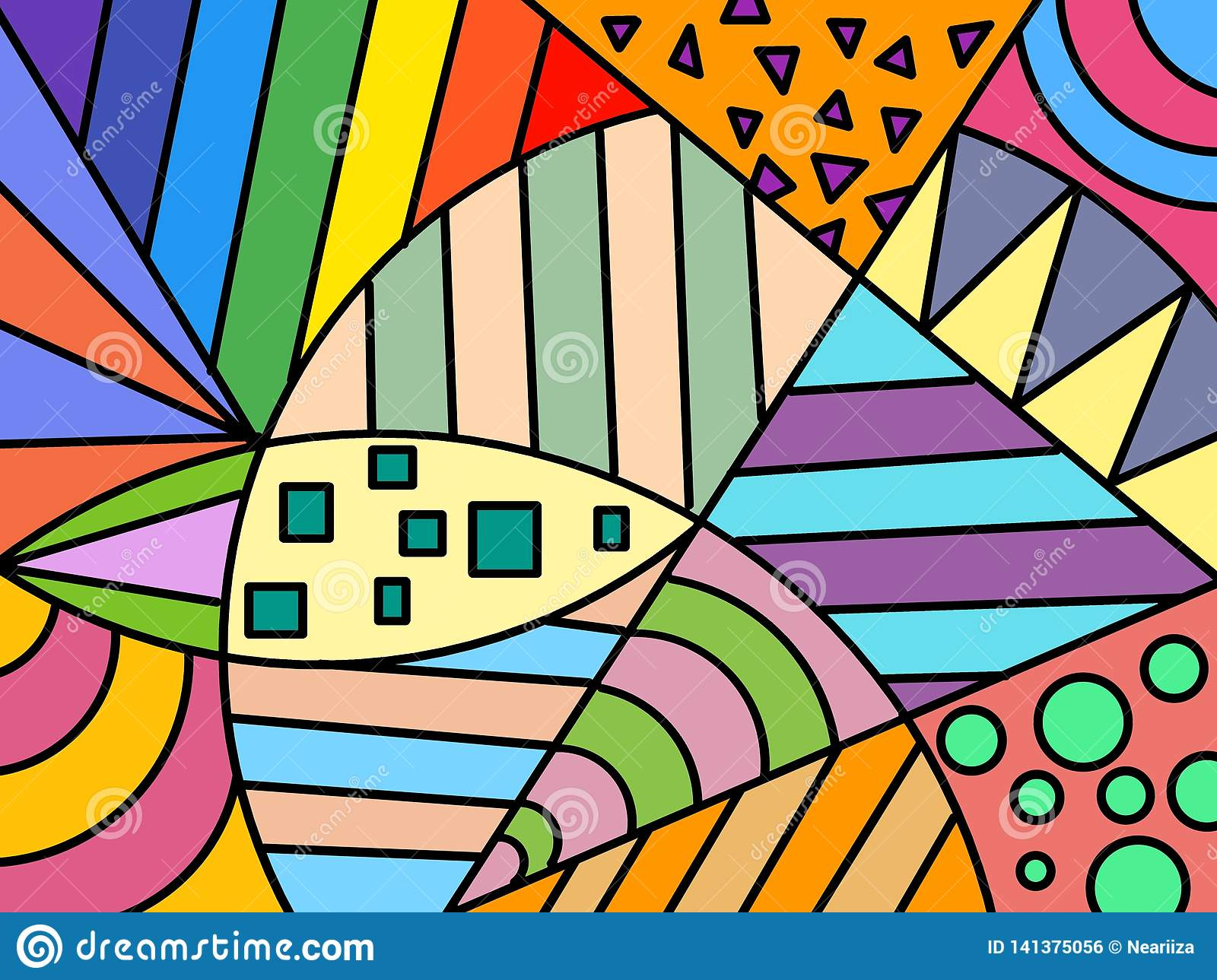 Hand Drawn Multicolored Background Shapes Paint Art