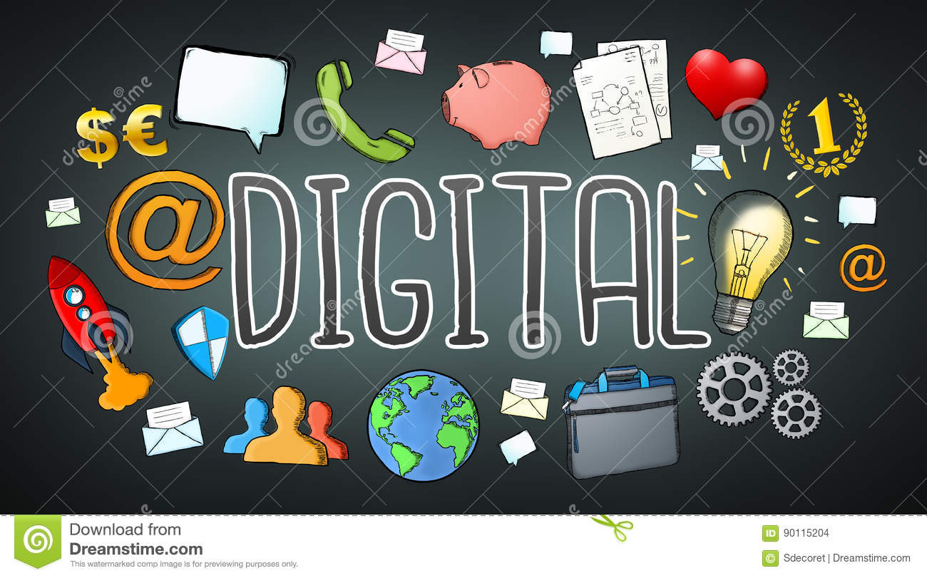 Hand-drawn Multimedia Technology Digital Text With Icons ...