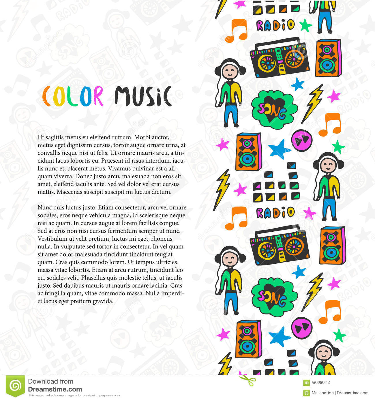 Music Book Cover Template ~ Hand drawn banner template vector illustration