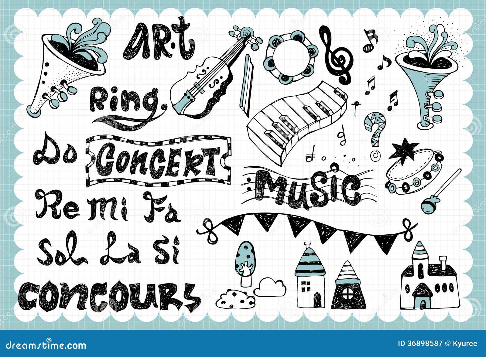 Hand Drawn Music Set 01 Royalty Free Stock Photography Image 36898587