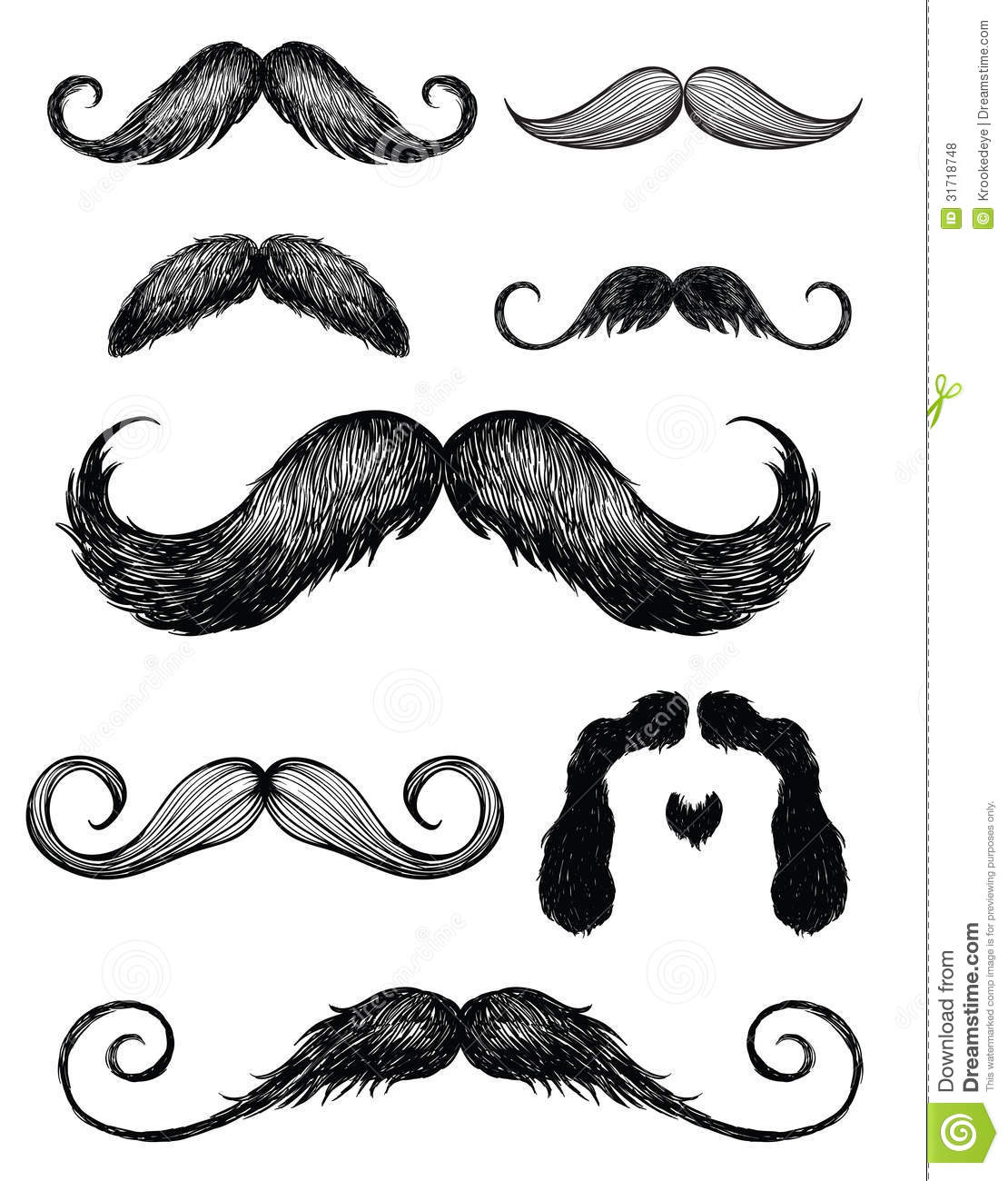 Hand Drawn Mustache Set 2 Royalty Free Stock Photos