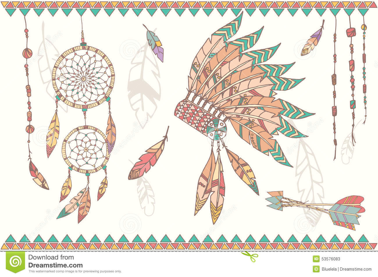Hand Drawn Native American Dream Catcher Beads And