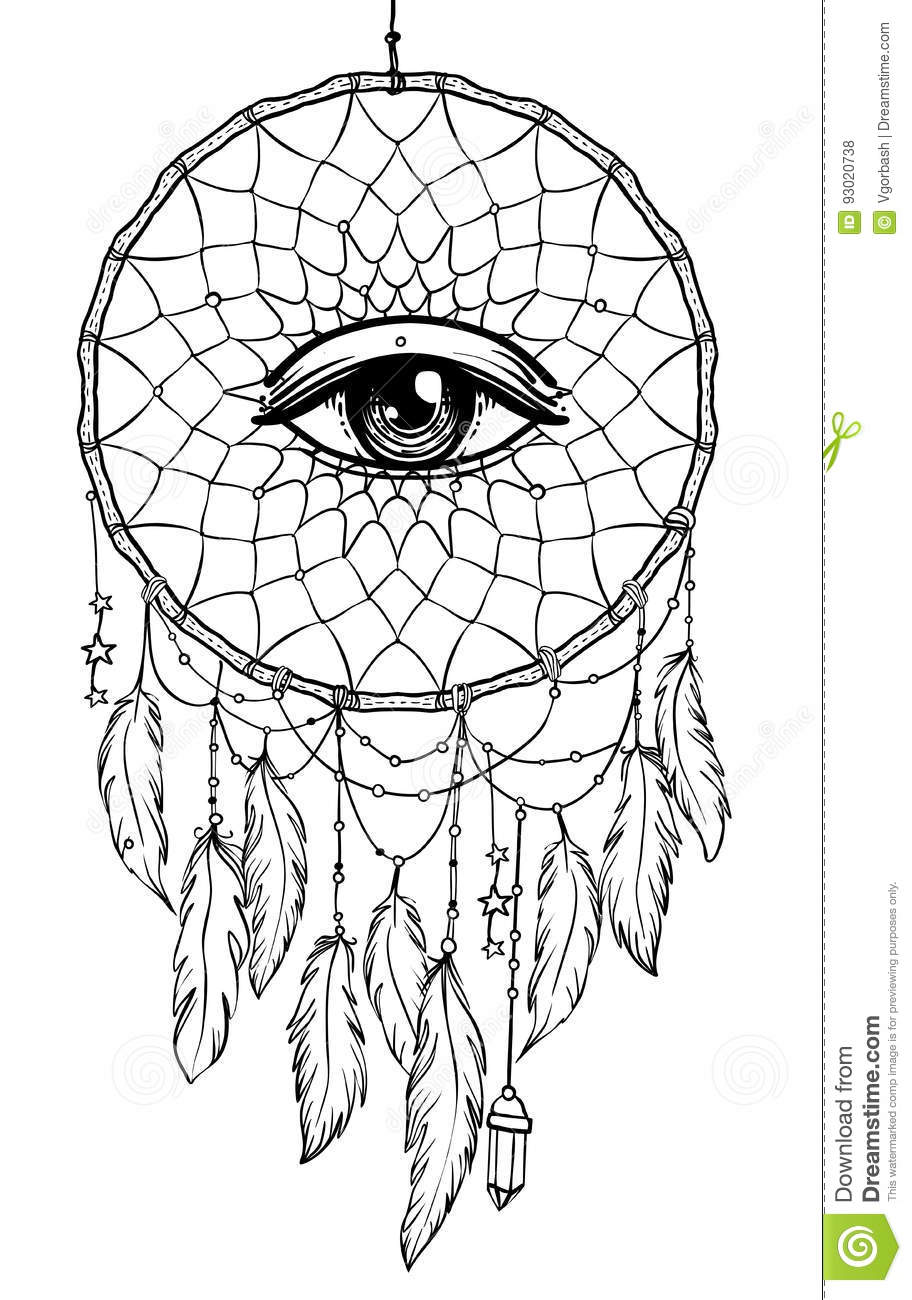 Hand Drawn Native American Indian