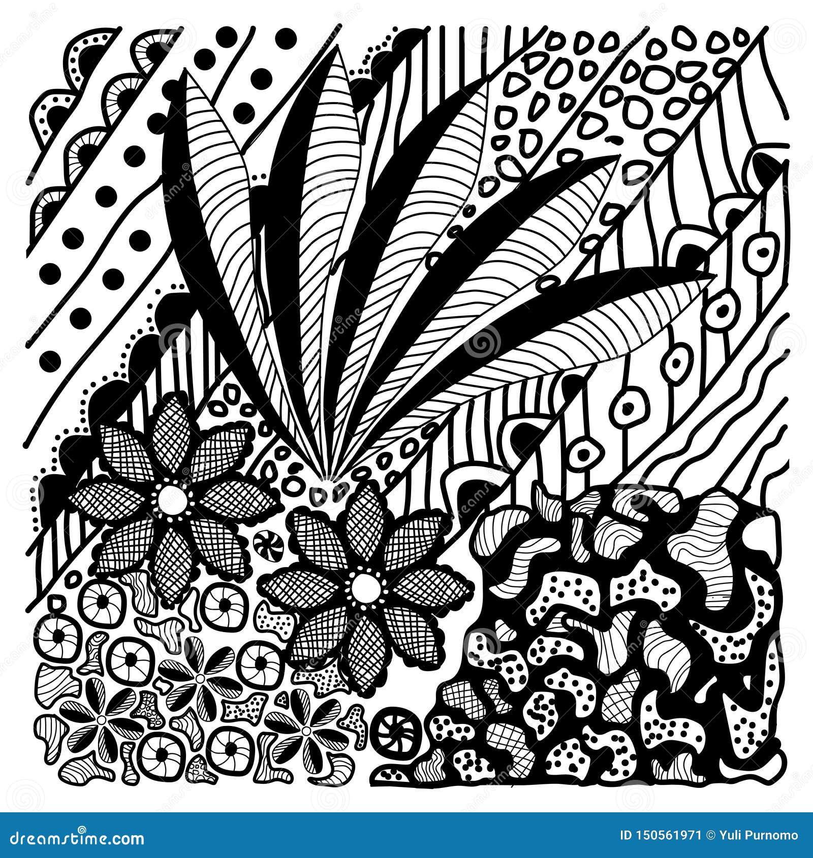 Hand Drawn Nature Batik Design Vector Stock Illustration