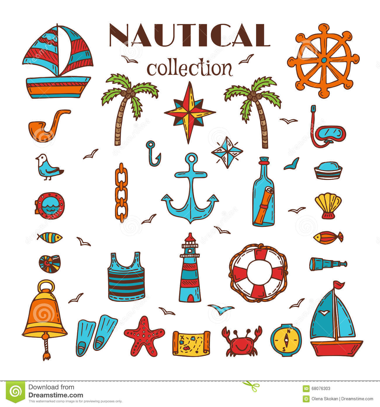 Hand Drawn Nautical Collection. Sea And Ocean. Marine Icon ...