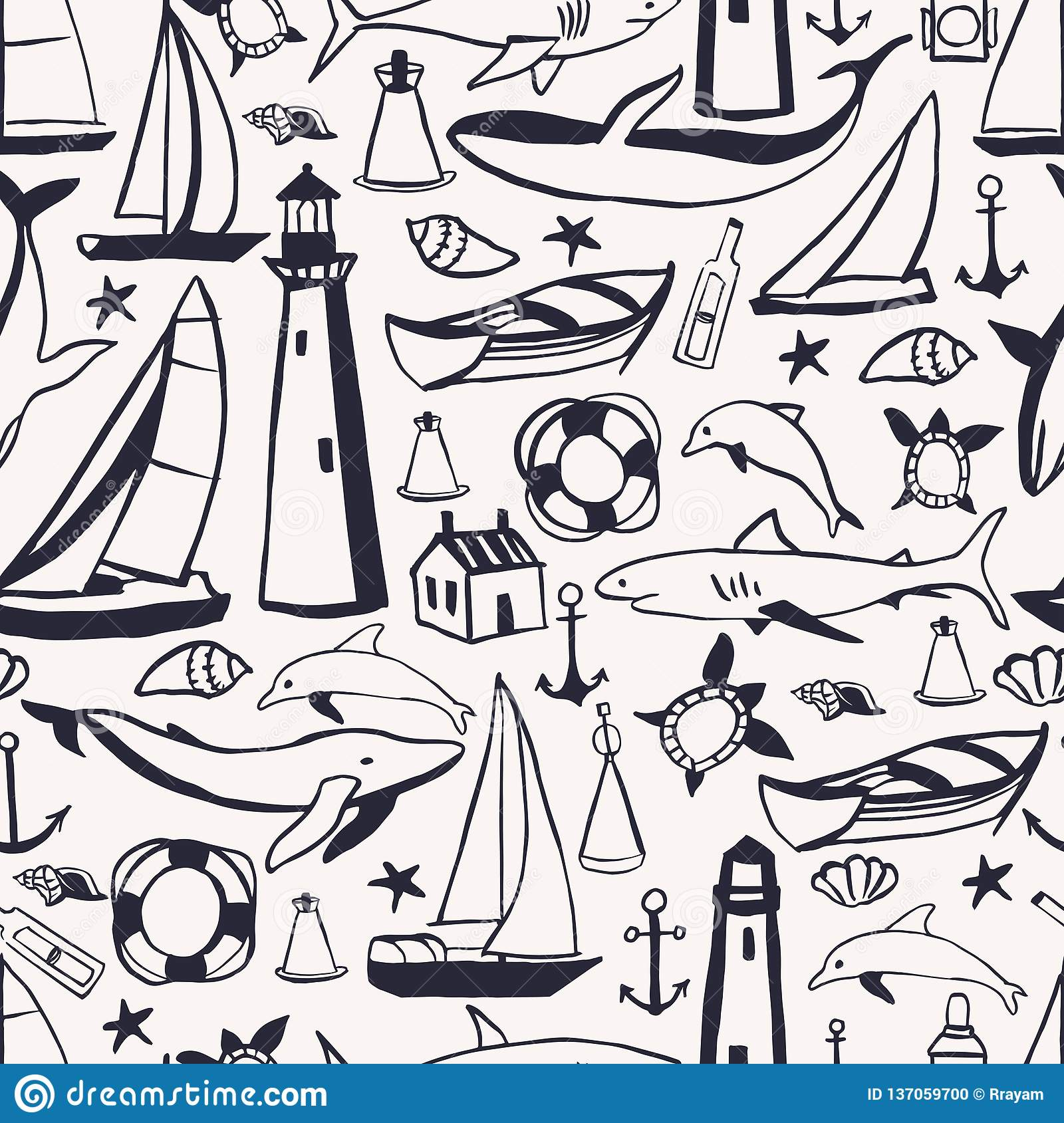 Hand drawn nautical icon set. Vector seamless pattern