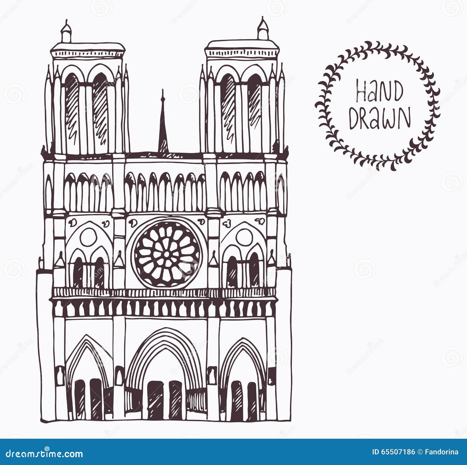 Notre Dame De Paris Disegno.Hand Drawn Notre Dame De Paris France Stock Vector Illustration