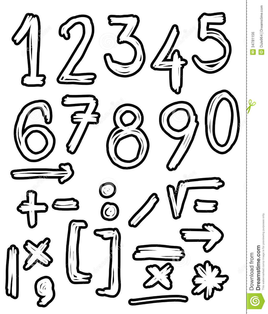 Line Drawing Numbers : Hand drawn numbers doodles stock illustration