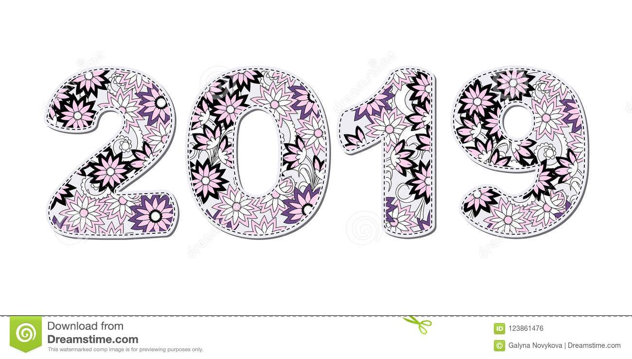 Numbers 2019 Patterned With Black Pink Flowers Stock Vector