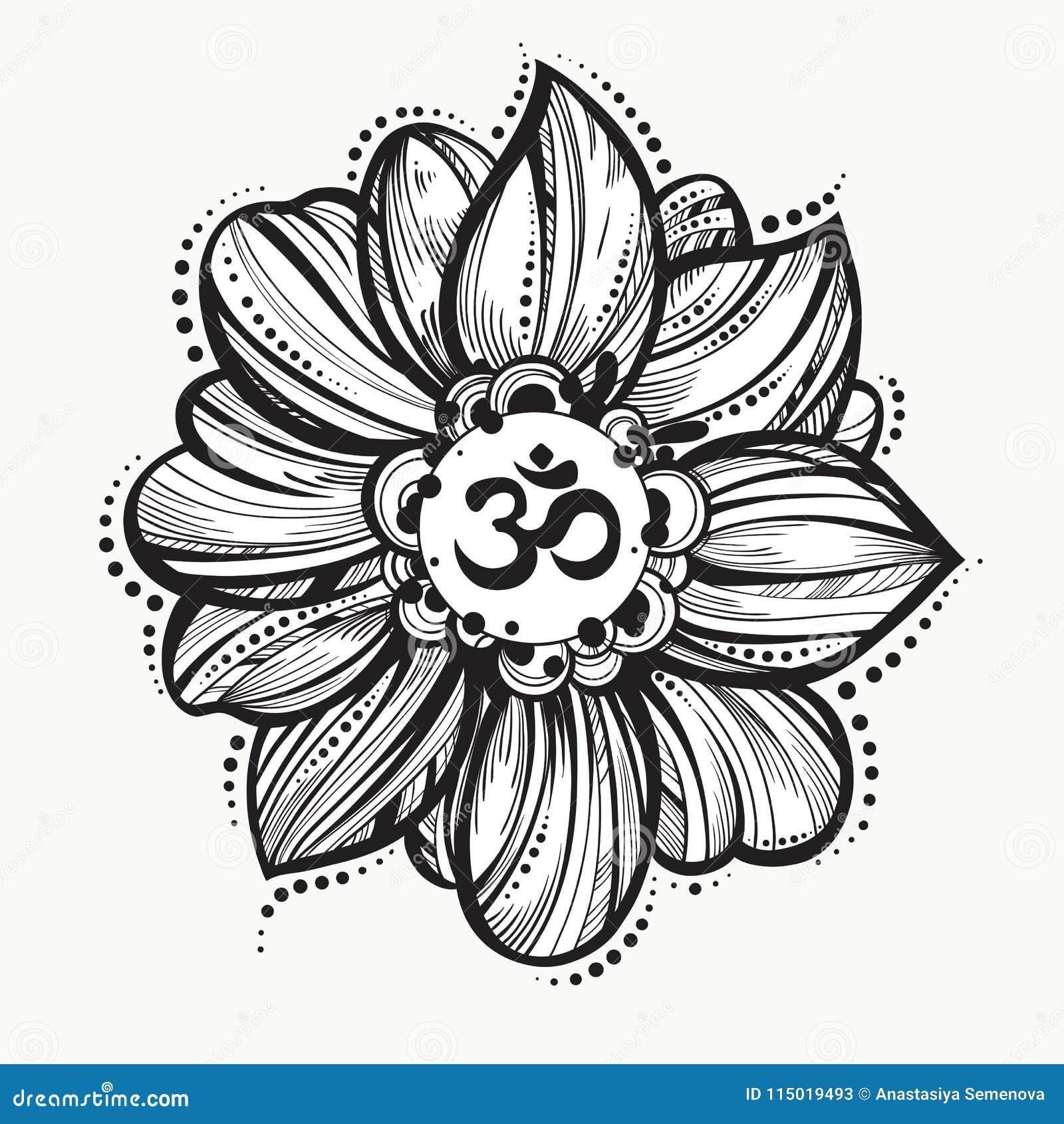 Hand Drawn Ohm Symbol Indian Diwali Spiritual Sign Om Lotus Flower