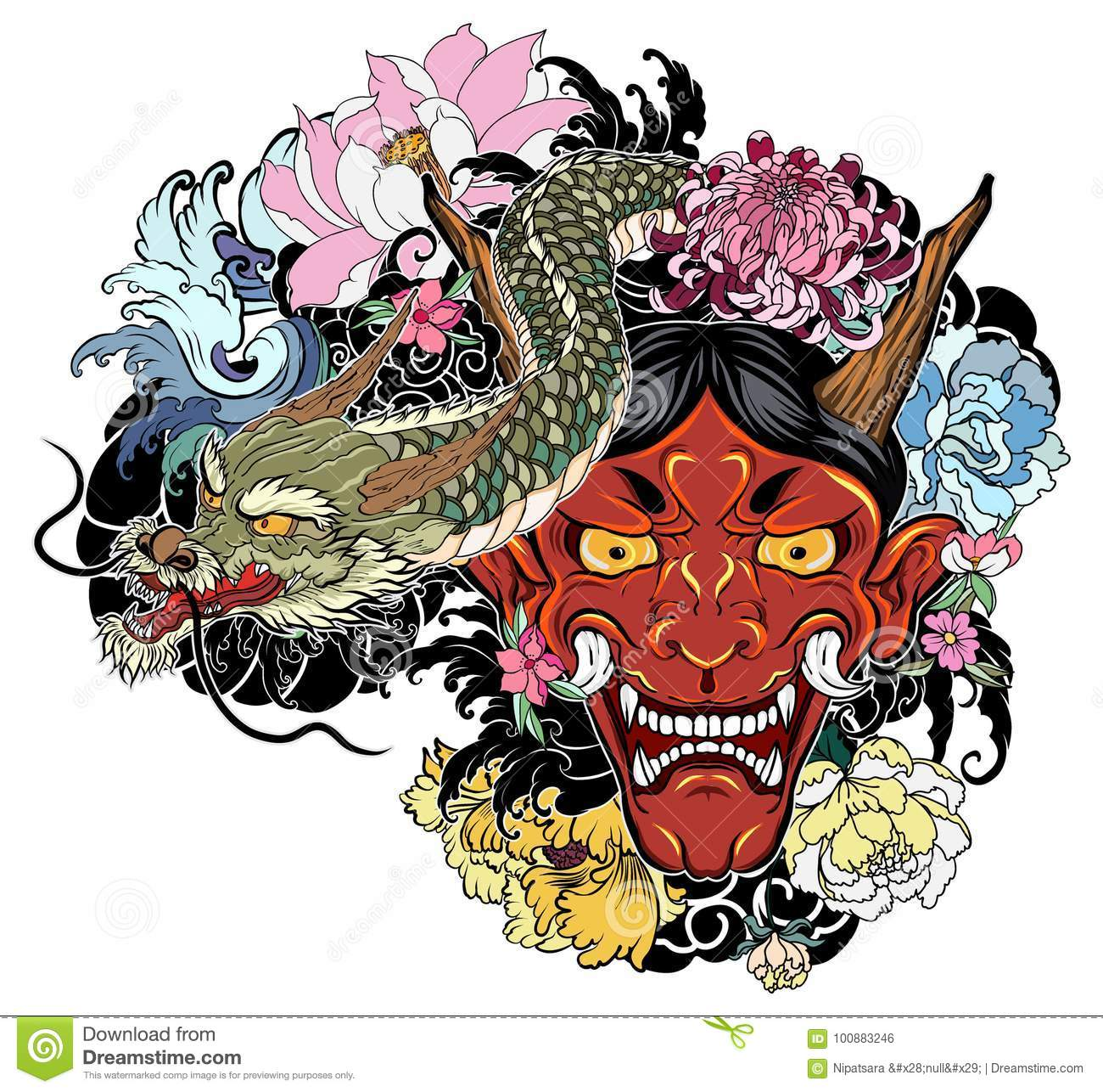 f0b9101b03a7e Hand drawn Oni mask with cherry blossom and peony flower.Japanese demon mask  on wave and sakura flower tattoo.