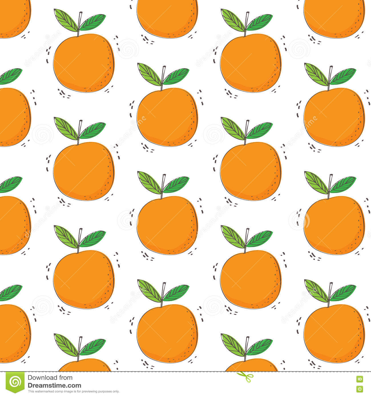 Hand Drawn Orange Fruit Pattern. Seamless Pattern. Print ...