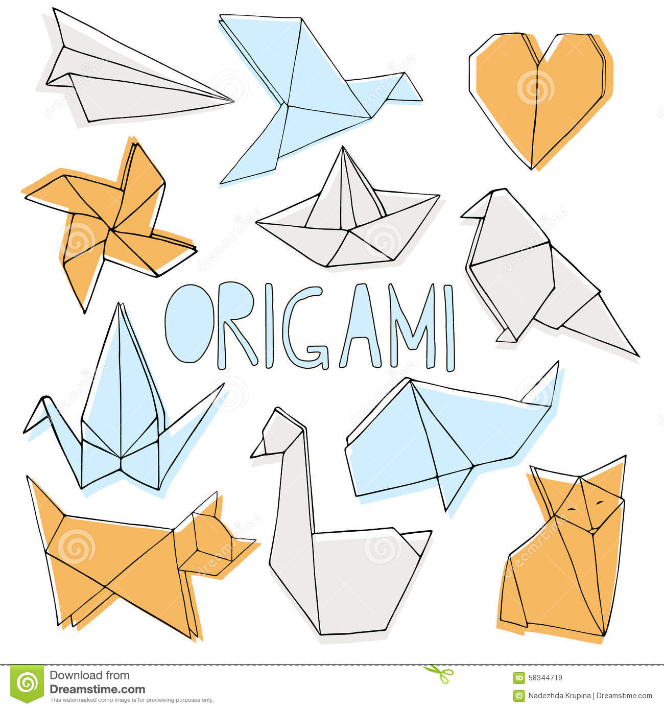 Hand Drawn Origami Set Stock Vector Illustration Of Geometric