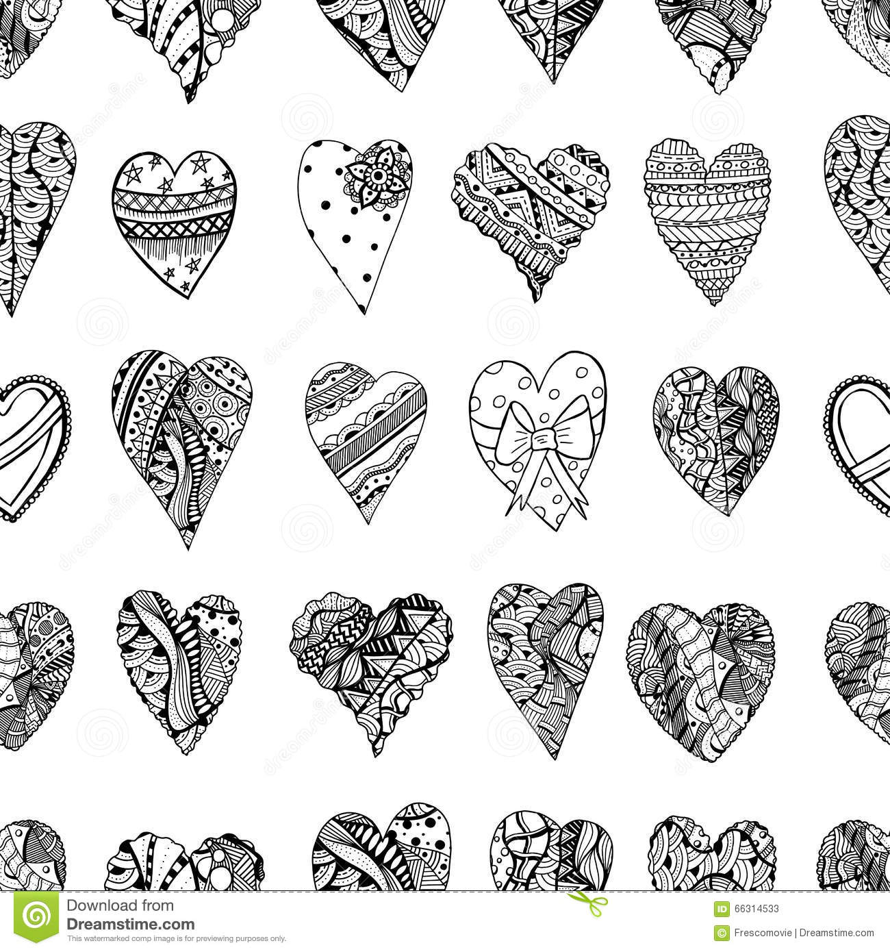 doodle heart coloring page ornamental stock vector illustration of 4277