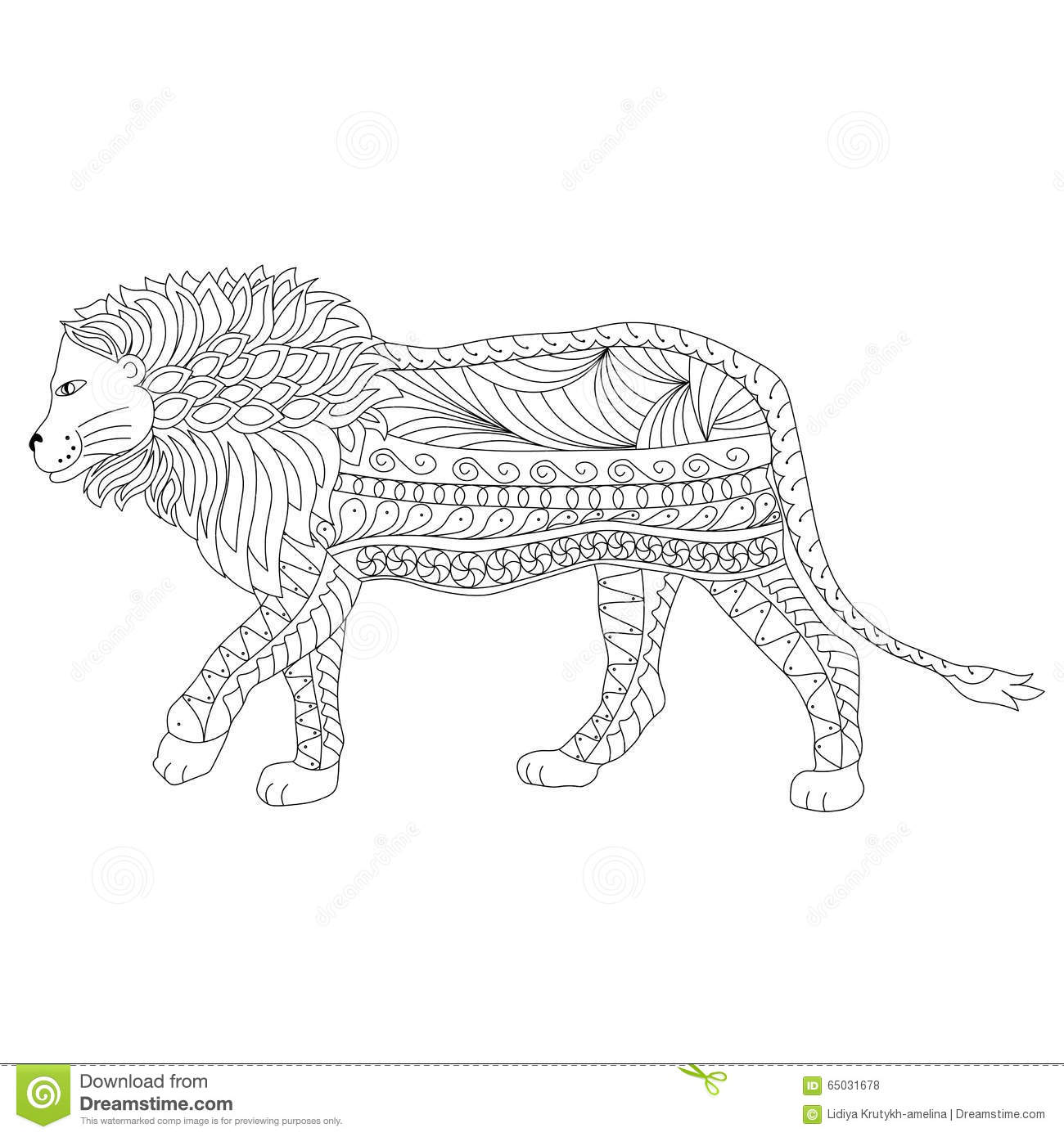 hand drawn ornamental outline lion body and head stock vector