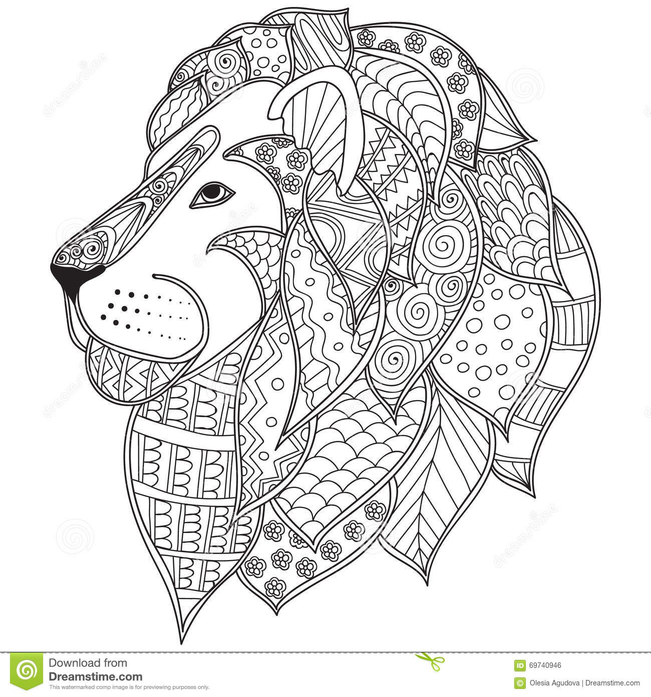 Hand Drawn Ornamental Outline Lion Head Illustration